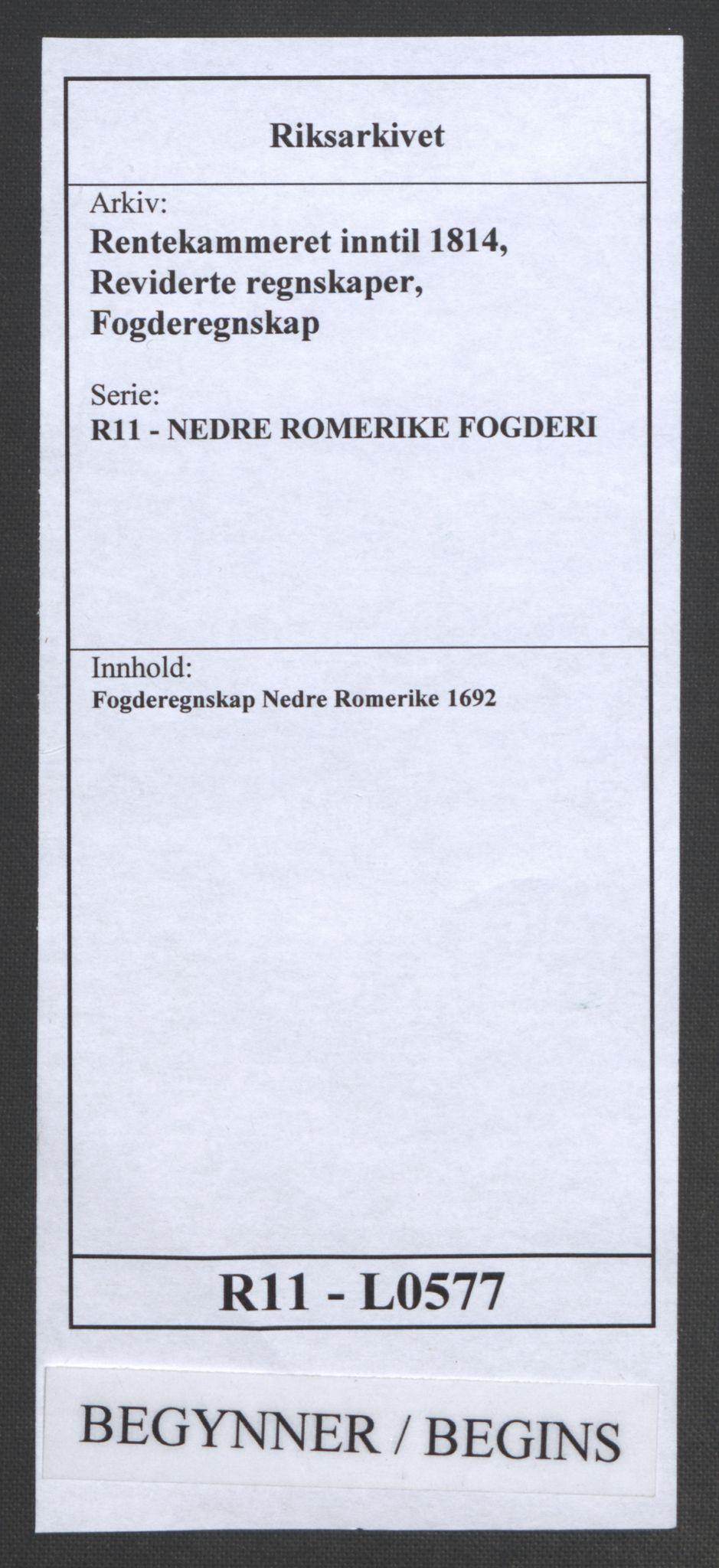 RA, Rentekammeret inntil 1814, Reviderte regnskaper, Fogderegnskap, R11/L0577: Fogderegnskap Nedre Romerike, 1692, s. 1