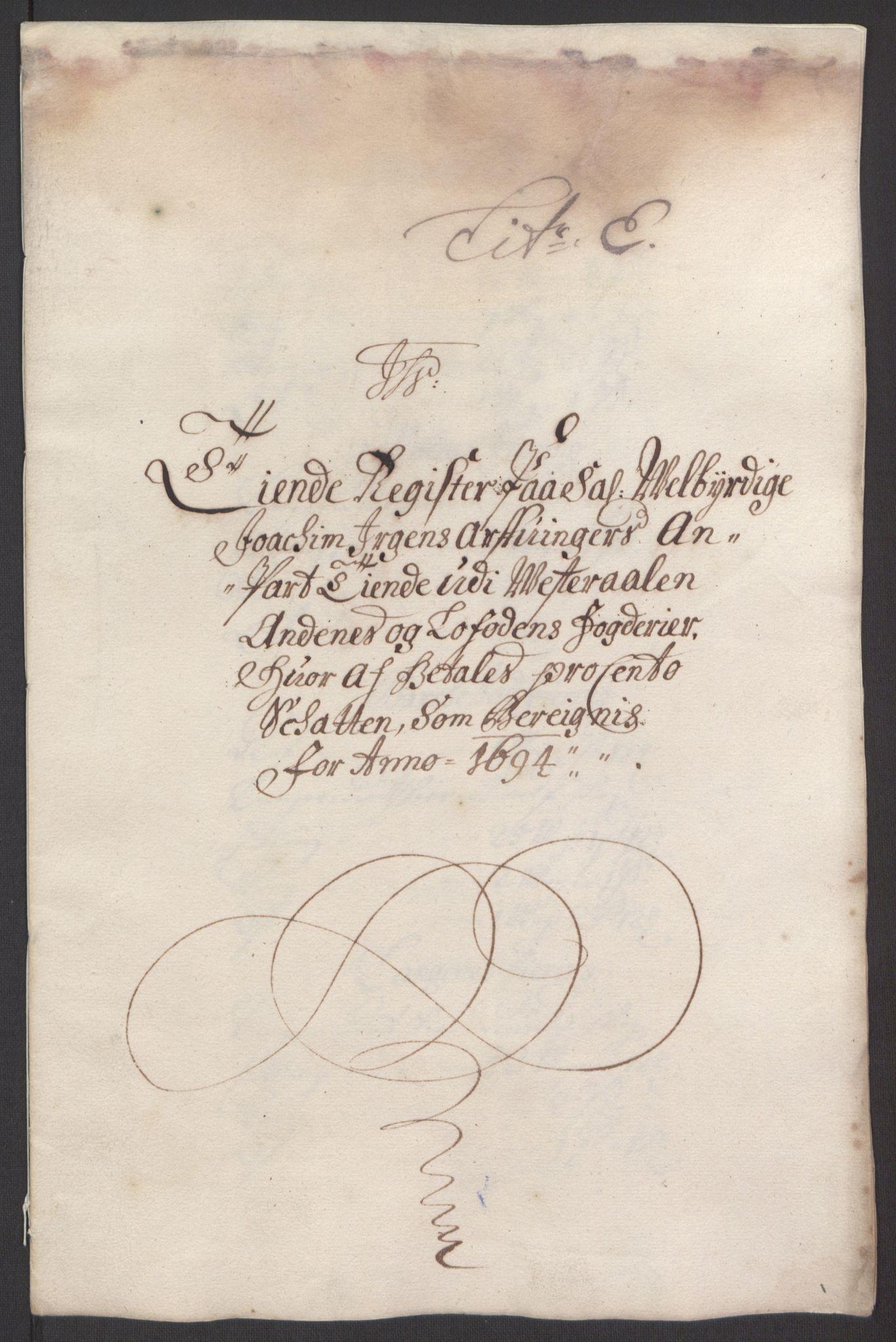 RA, Rentekammeret inntil 1814, Reviderte regnskaper, Fogderegnskap, R67/L4677: Fogderegnskap Vesterålen, Andenes og Lofoten, 1694-1695, s. 78