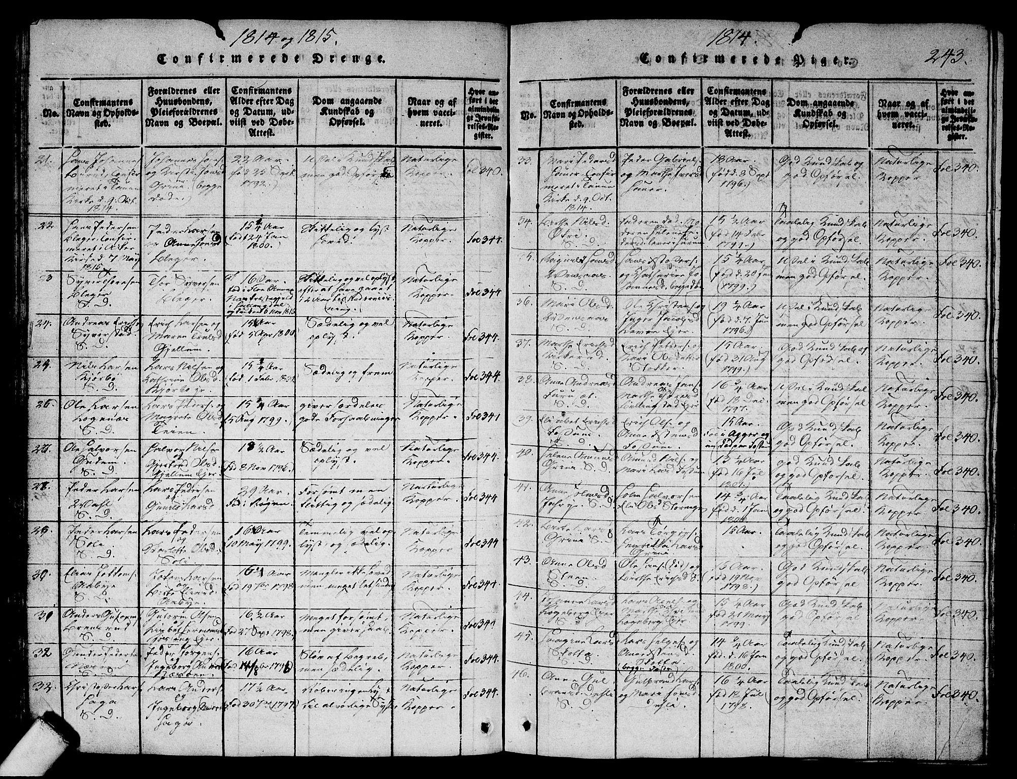 SAO, Asker prestekontor Kirkebøker, G/Ga/L0001: Klokkerbok nr. I 1, 1814-1830, s. 243