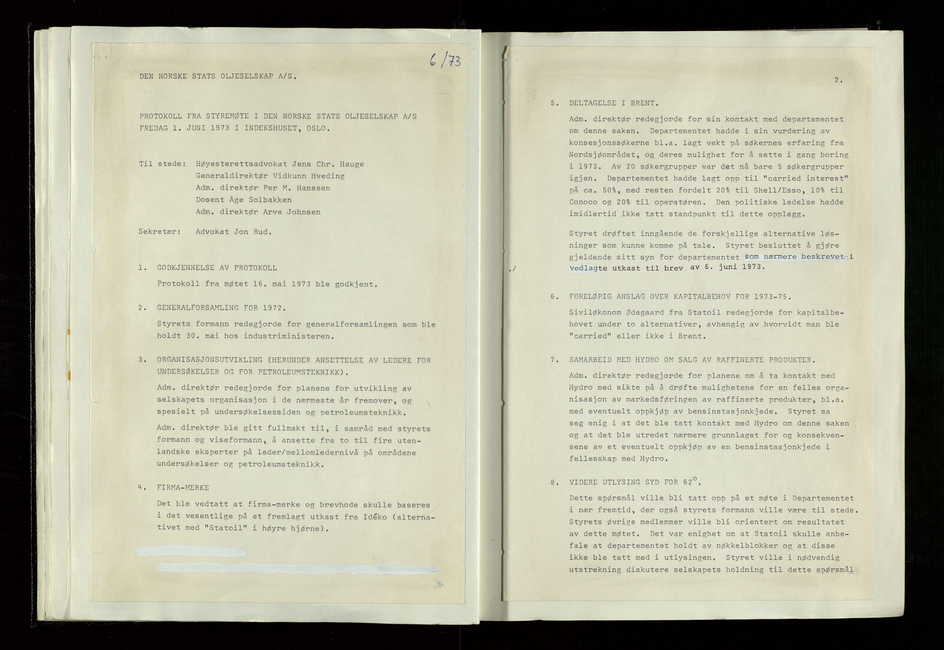 SAST, Pa 1339 - Statoil ASA, A/Ab/Aba/L0001: Styremøteprotokoller, 05.10.1972 til 14.12.1978, 1972-1978, s. 27