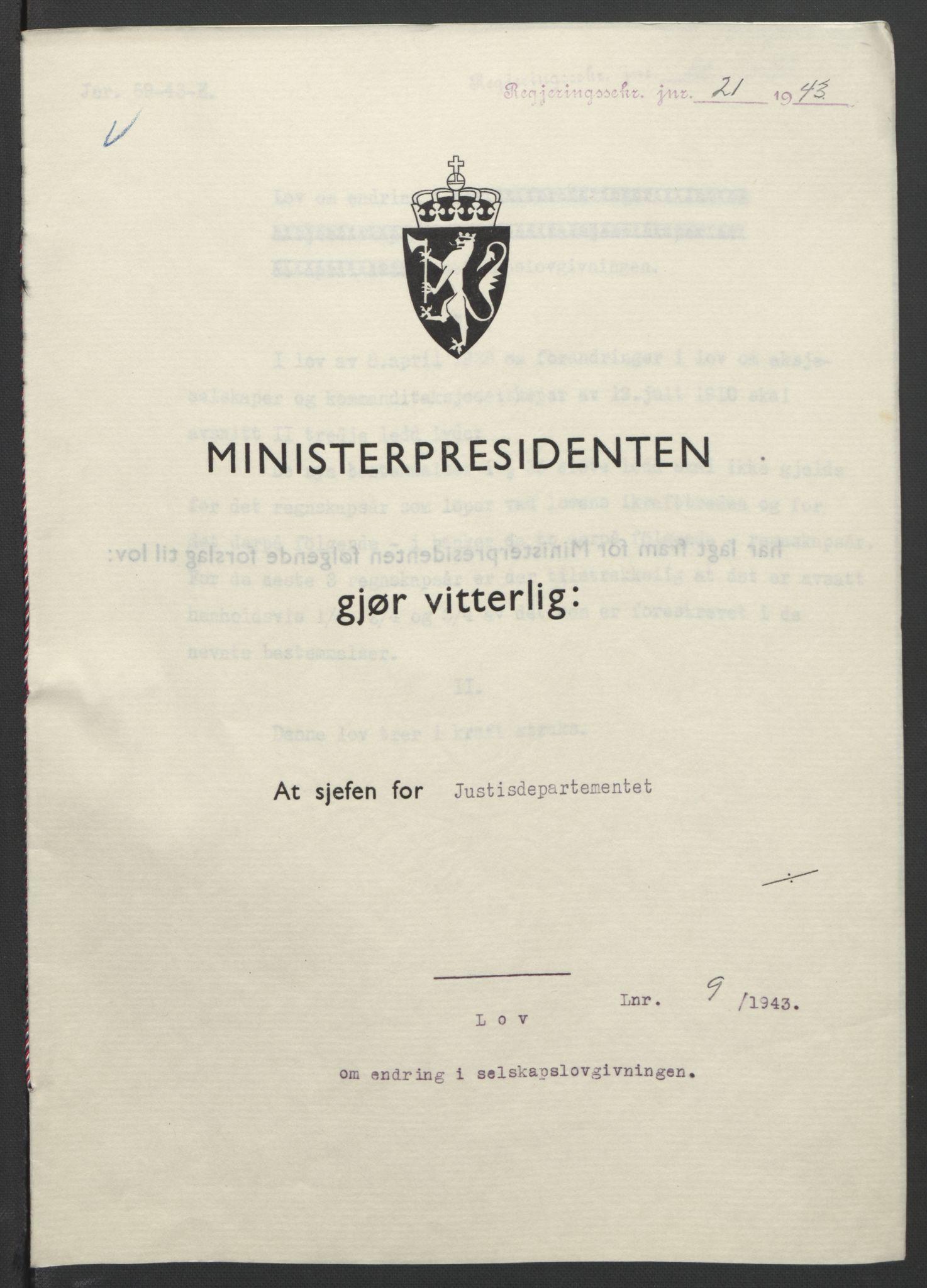 RA, NS-administrasjonen 1940-1945 (Statsrådsekretariatet, de kommisariske statsråder mm), D/Db/L0099: Lover, 1943, s. 36