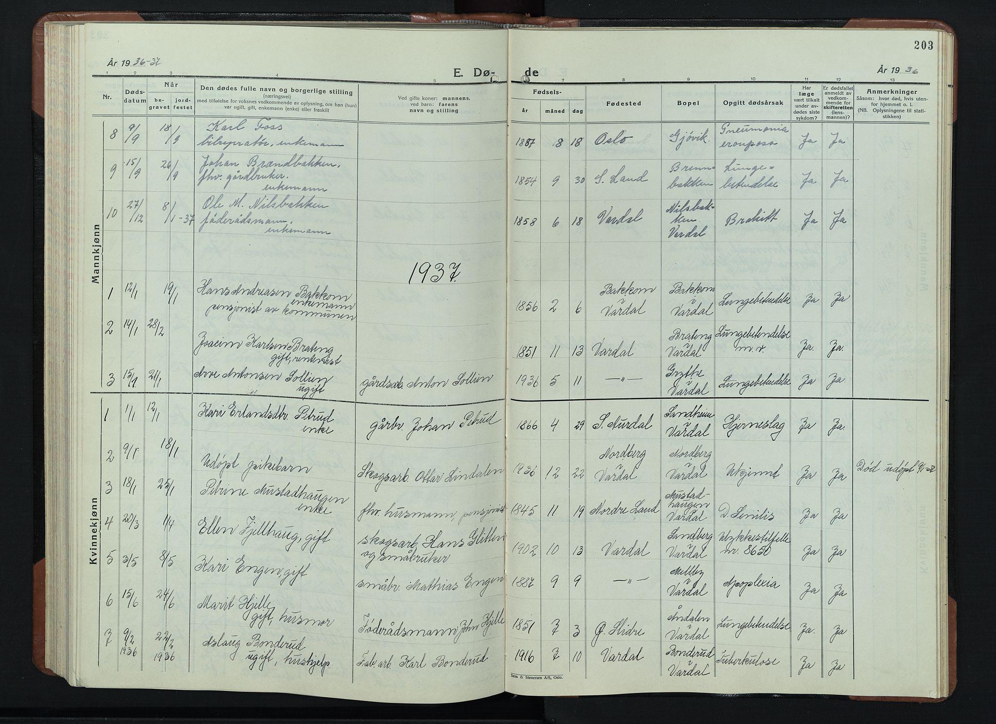 SAH, Vardal prestekontor, H/Ha/Hab/L0018: Klokkerbok nr. 18, 1931-1951, s. 203