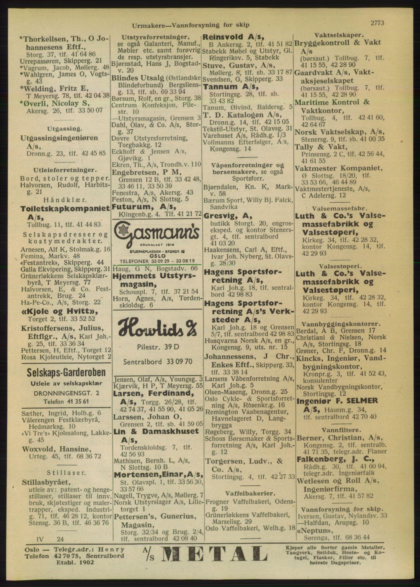 PUBL, Kristiania/Oslo adressebok, 1950, s. 2773