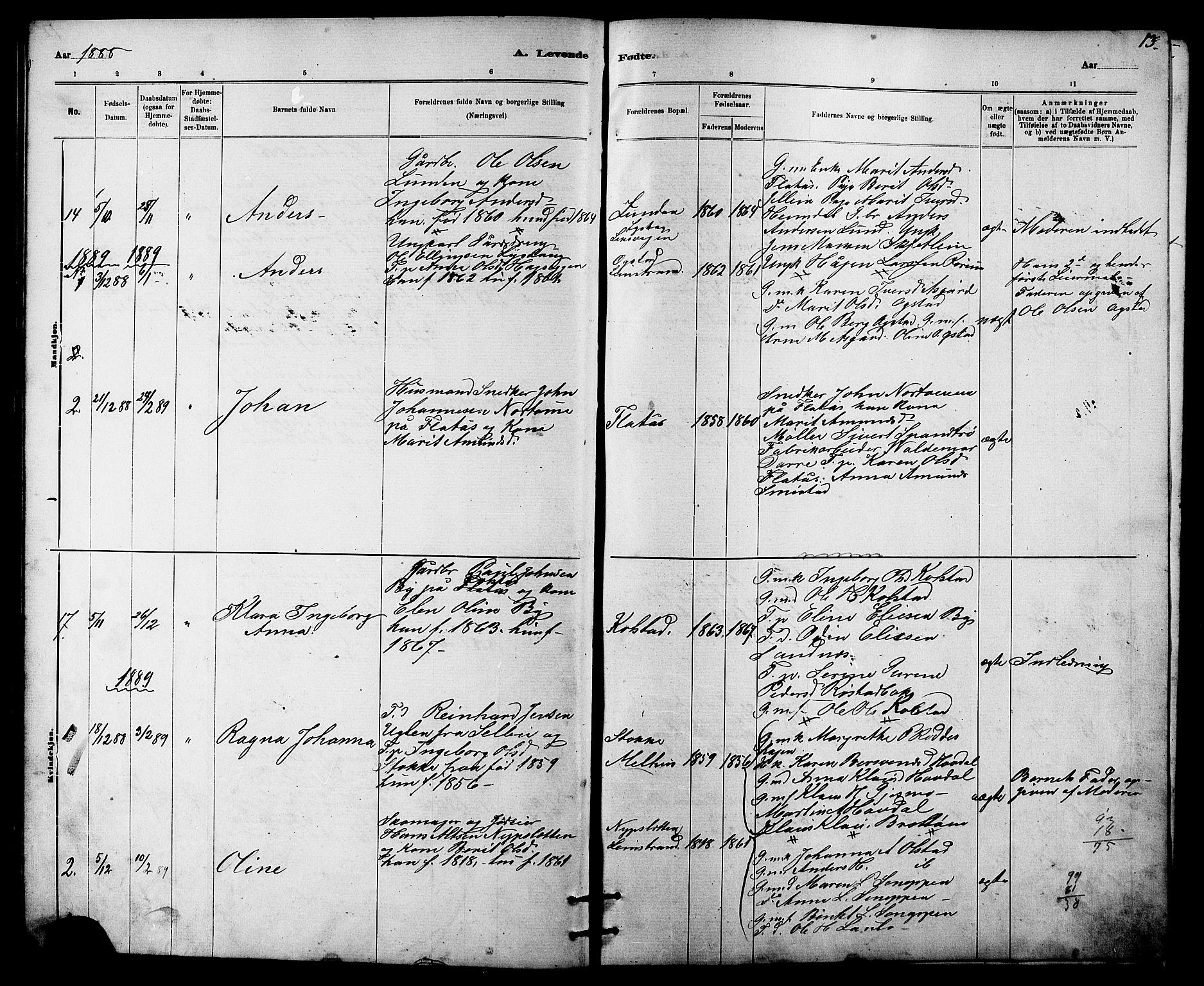SAT, Ministerialprotokoller, klokkerbøker og fødselsregistre - Sør-Trøndelag, 613/L0395: Klokkerbok nr. 613C03, 1887-1909, s. 13