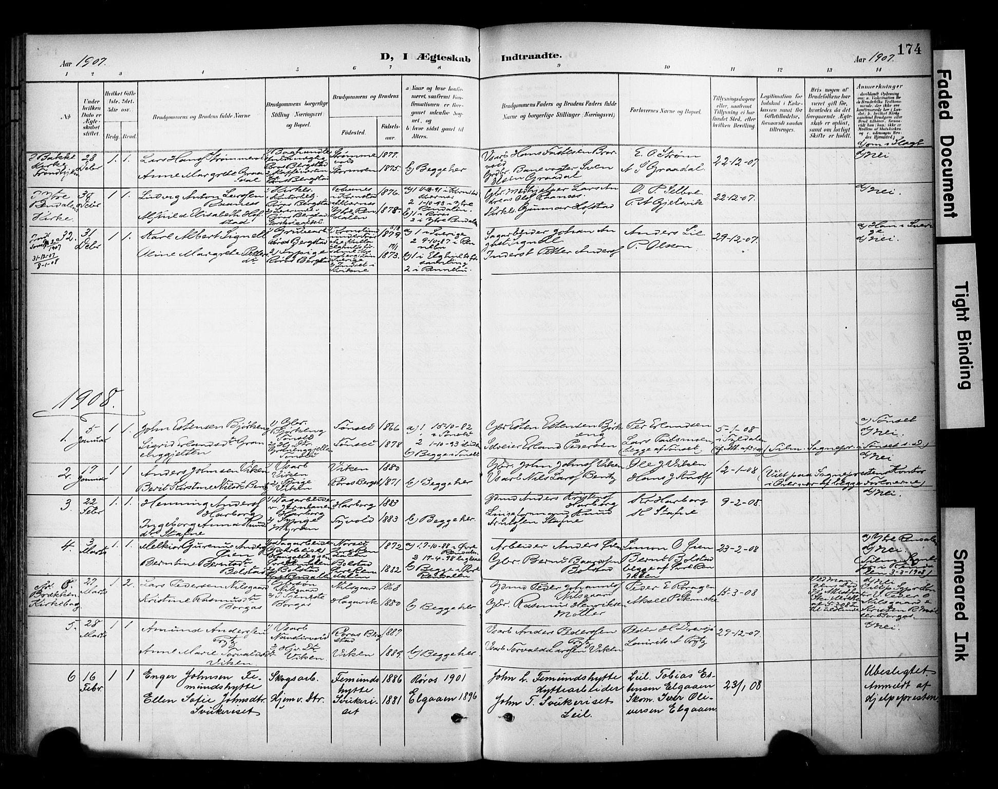 SAT, Ministerialprotokoller, klokkerbøker og fødselsregistre - Sør-Trøndelag, 681/L0936: Ministerialbok nr. 681A14, 1899-1908, s. 174