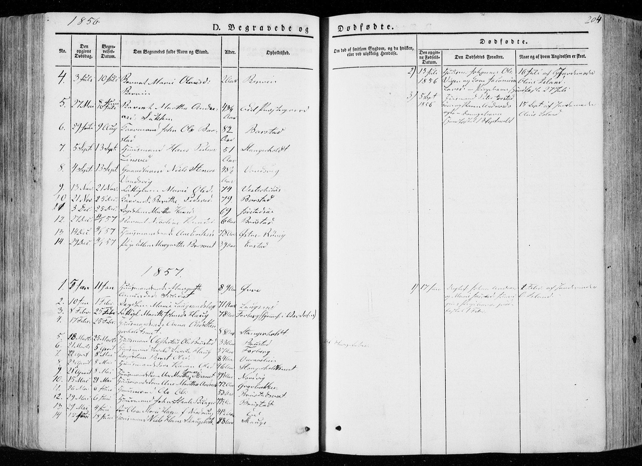 SAT, Ministerialprotokoller, klokkerbøker og fødselsregistre - Nord-Trøndelag, 722/L0218: Ministerialbok nr. 722A05, 1843-1868, s. 204