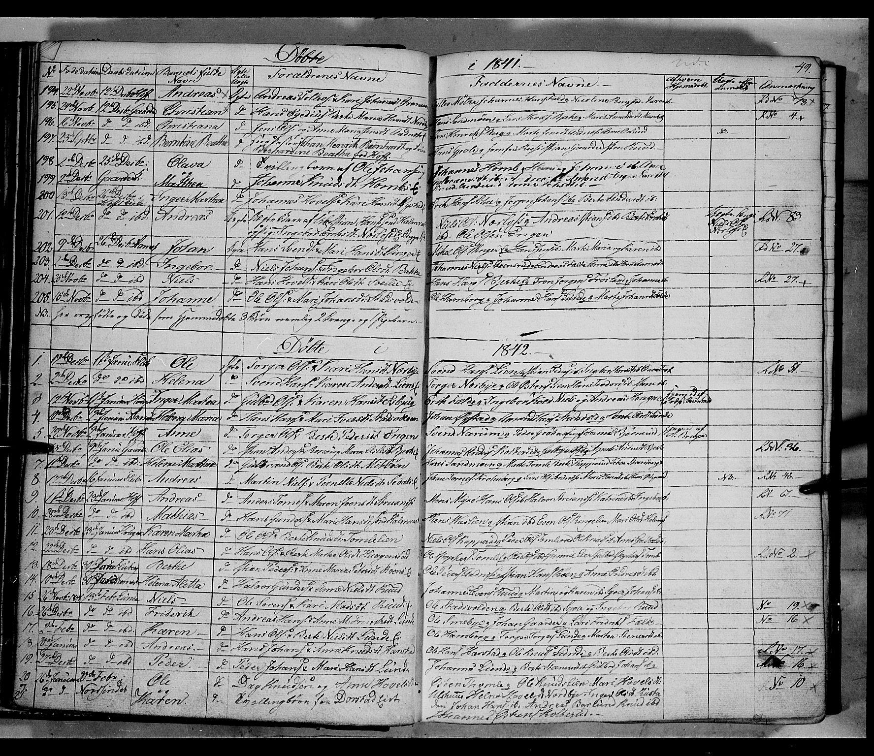 SAH, Land prestekontor, Klokkerbok nr. 2, 1833-1849, s. 49