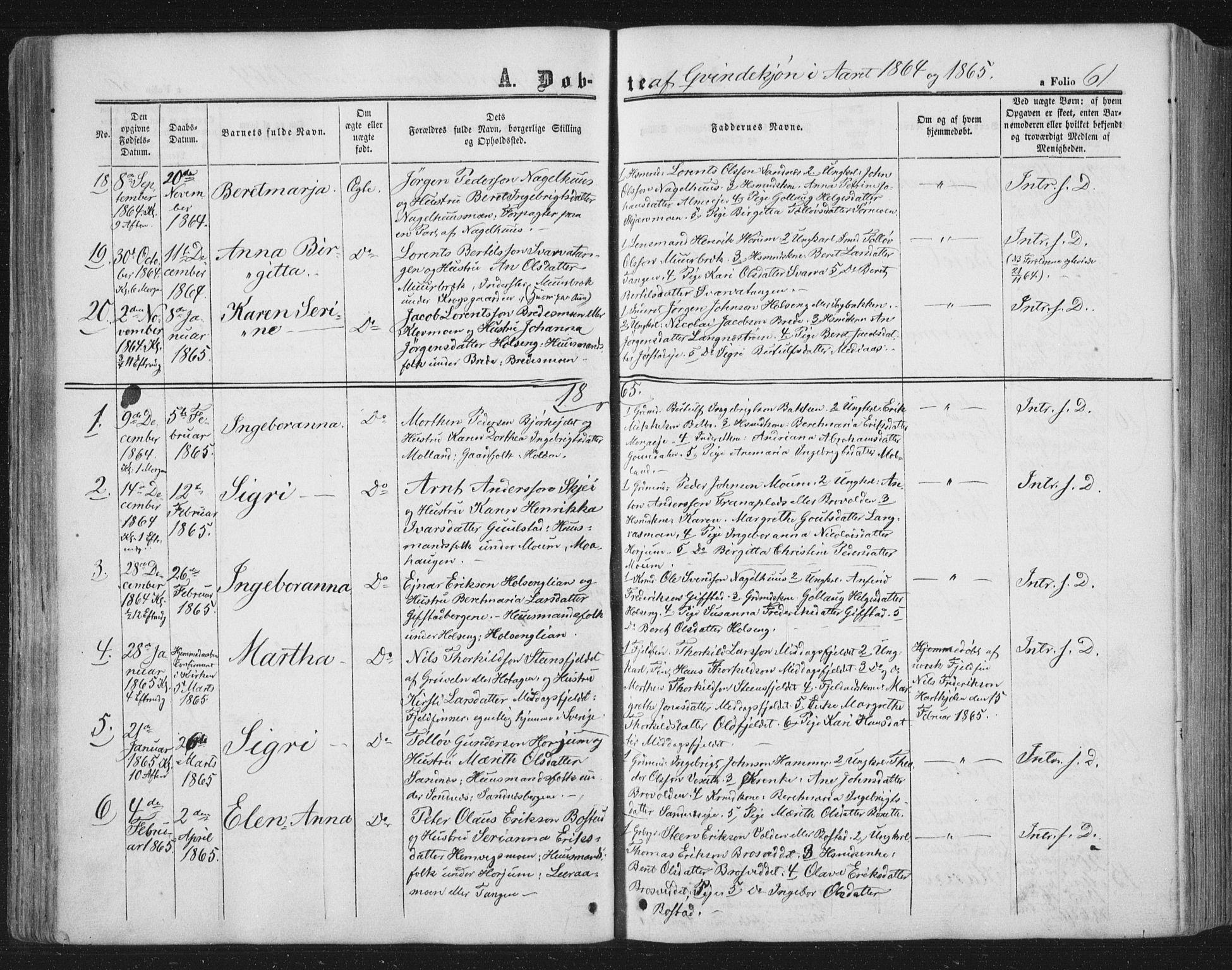 SAT, Ministerialprotokoller, klokkerbøker og fødselsregistre - Nord-Trøndelag, 749/L0472: Ministerialbok nr. 749A06, 1857-1873, s. 61