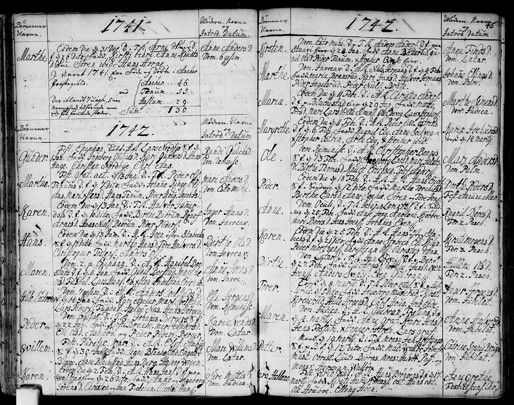 SAO, Asker prestekontor Kirkebøker, F/Fa/L0002: Ministerialbok nr. I 2, 1733-1766, s. 45