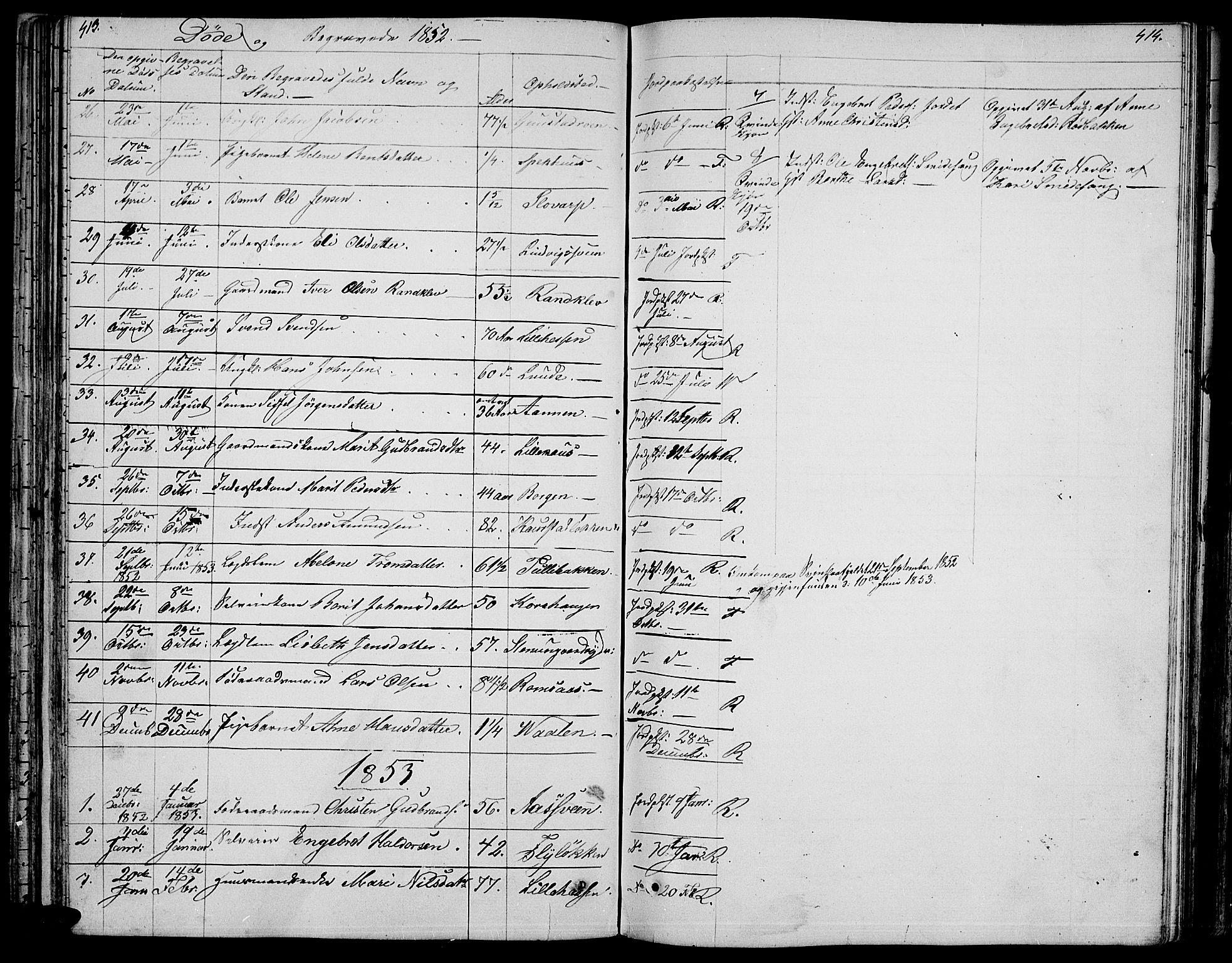 SAH, Ringebu prestekontor, Klokkerbok nr. 2, 1839-1853, s. 413-414
