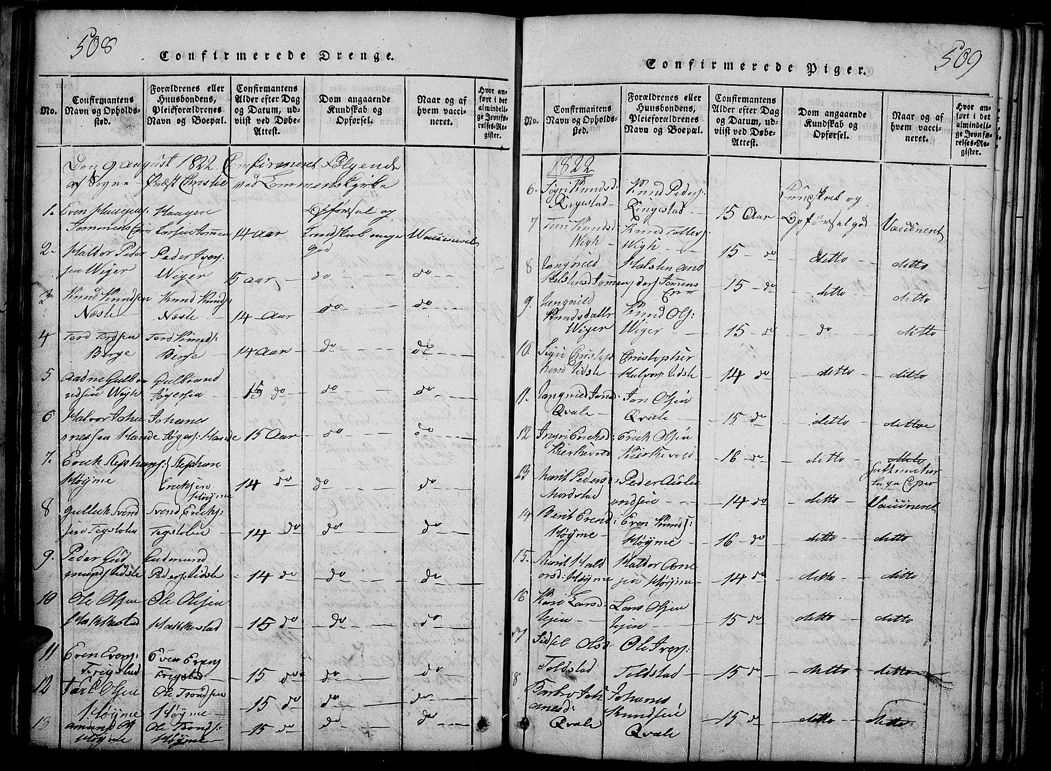 SAH, Slidre prestekontor, Ministerialbok nr. 2, 1814-1830, s. 508-509