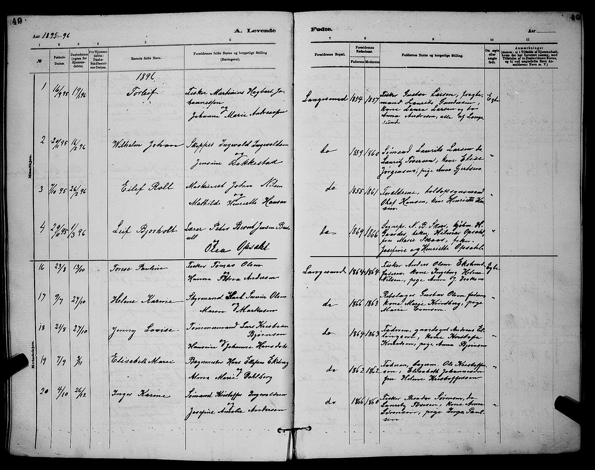 SAKO, Langesund kirkebøker, G/Ga/L0005: Klokkerbok nr. 5, 1884-1898, s. 49