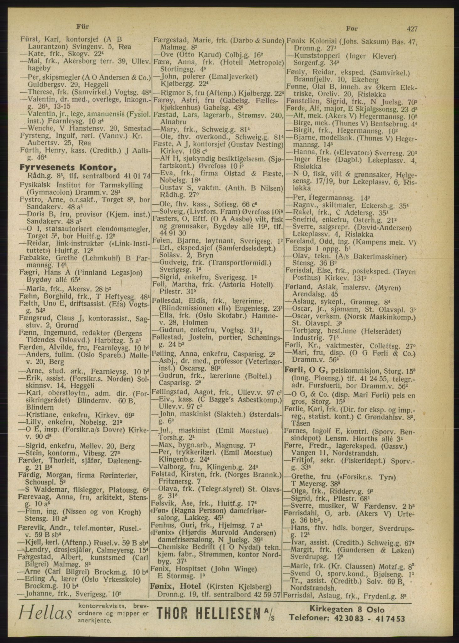PUBL, Kristiania/Oslo adressebok, 1949, s. 427