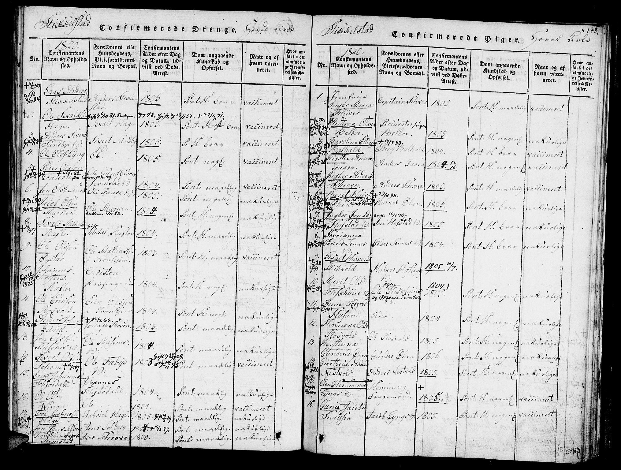 SAT, Ministerialprotokoller, klokkerbøker og fødselsregistre - Nord-Trøndelag, 723/L0234: Ministerialbok nr. 723A05 /1, 1816-1840, s. 178