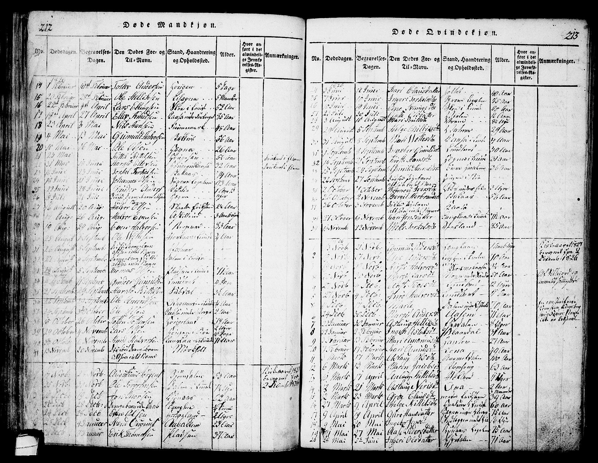 SAKO, Bø kirkebøker, G/Ga/L0001: Klokkerbok nr. 1, 1815-1831, s. 212-213