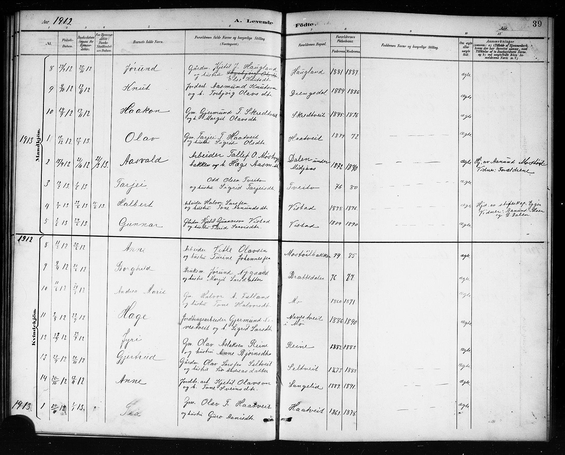SAKO, Mo kirkebøker, G/Ga/L0002: Klokkerbok nr. I 2, 1892-1914, s. 39