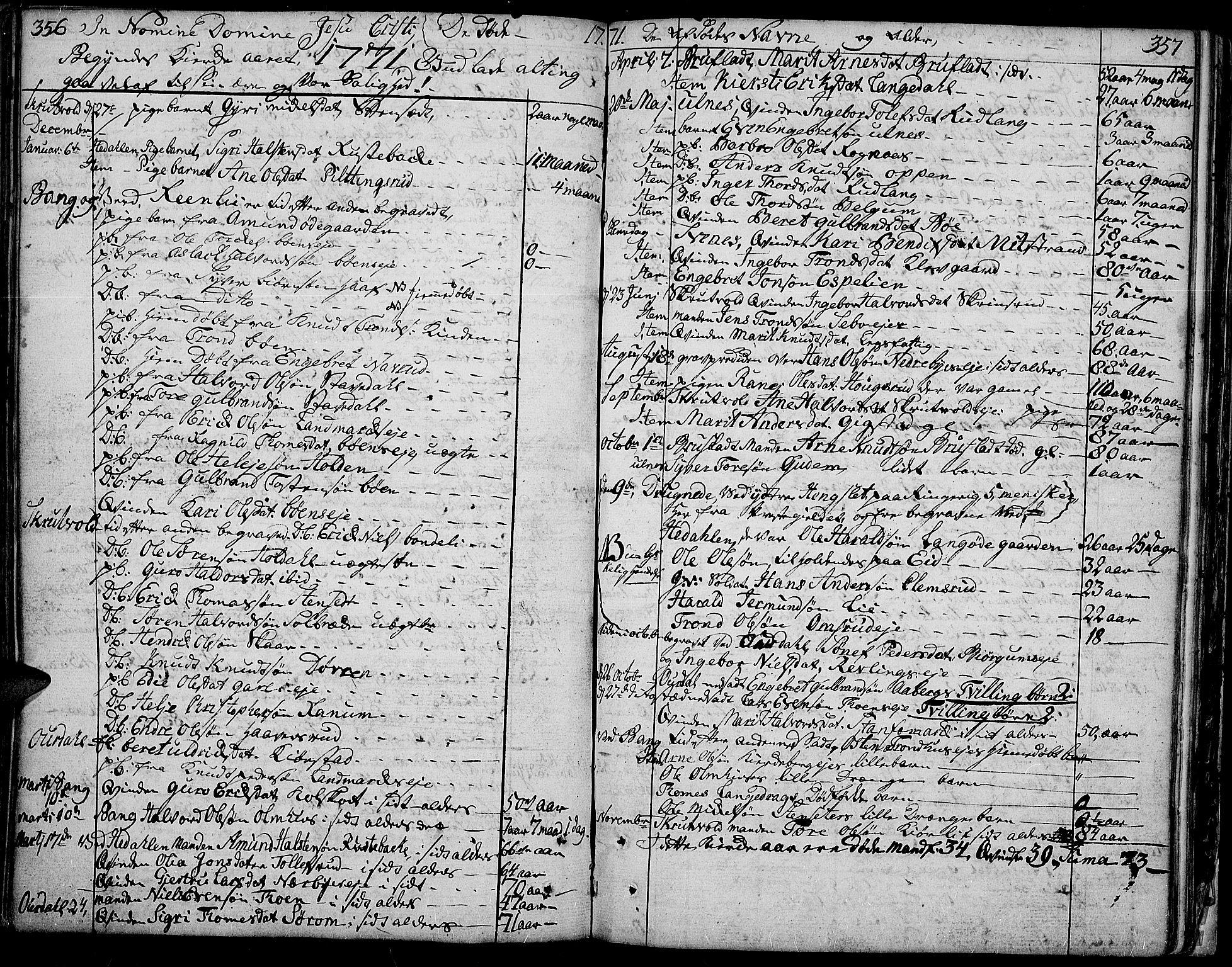 SAH, Aurdal prestekontor, Ministerialbok nr. 5, 1763-1781, s. 356-357