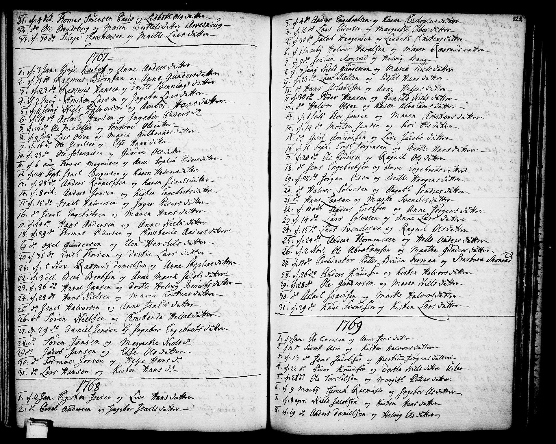 SAKO, Gjerpen kirkebøker, F/Fa/L0002: Ministerialbok nr. 2, 1747-1795, s. 224