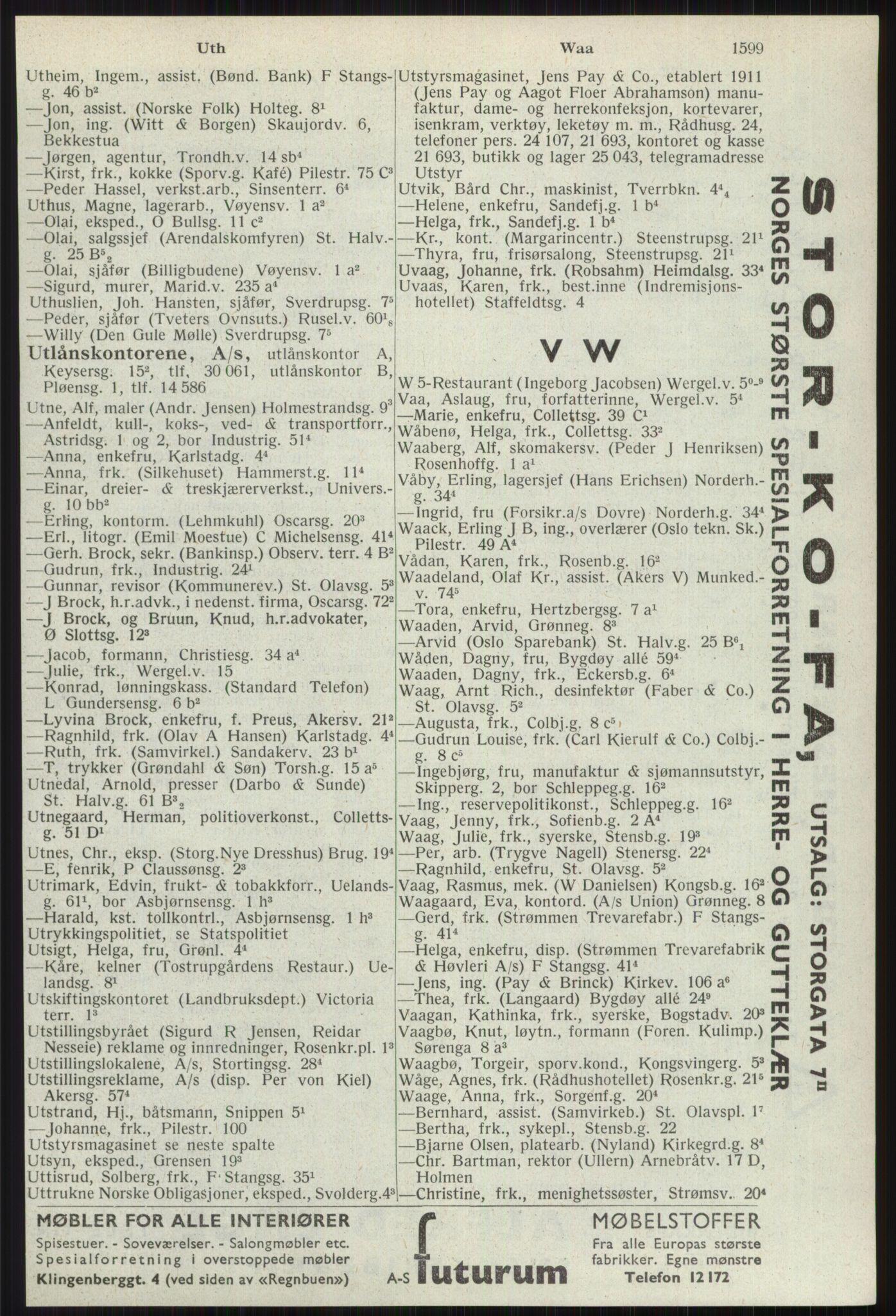 RA, Oslo adressebok (publikasjon)*, 1941, s. 1599