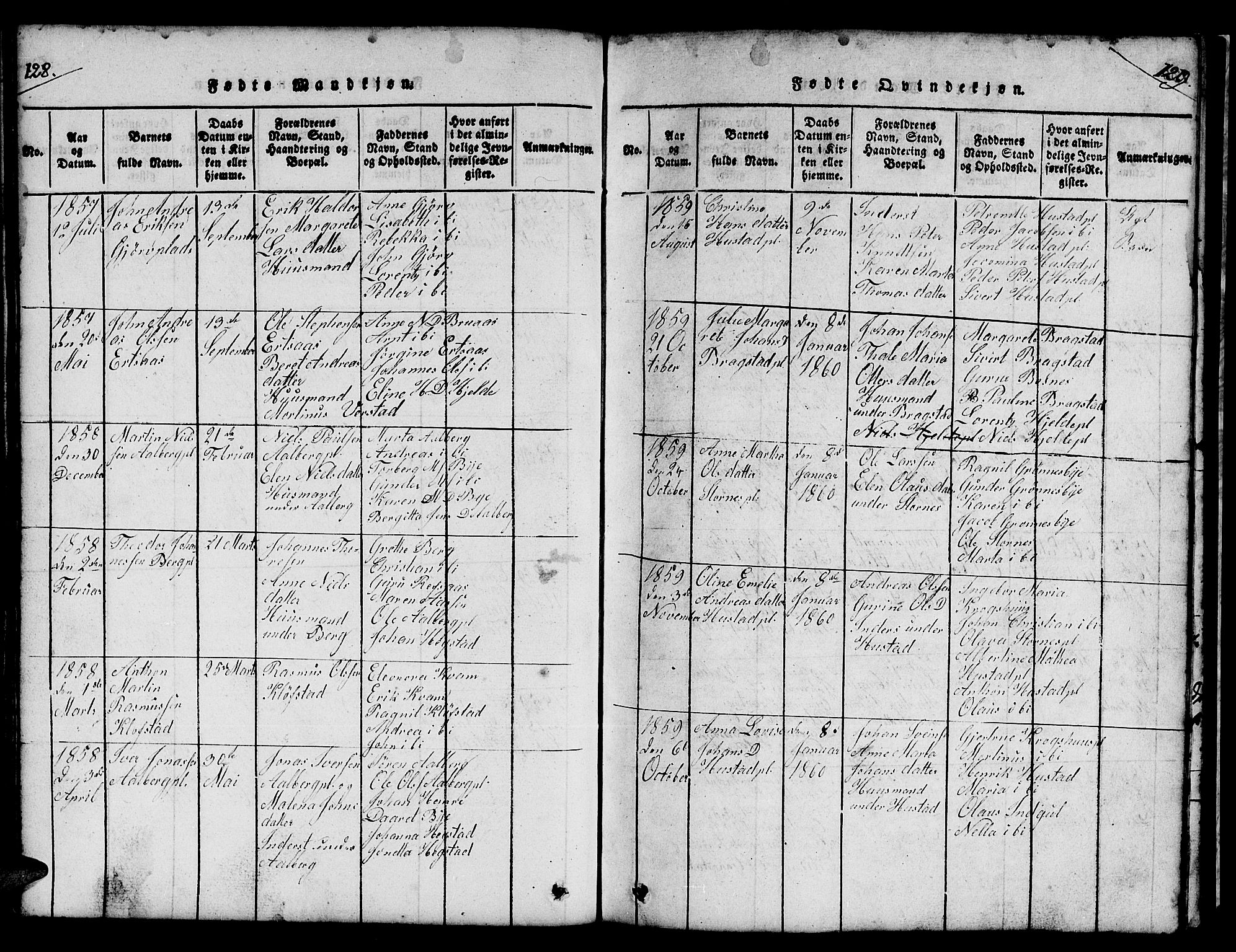 SAT, Ministerialprotokoller, klokkerbøker og fødselsregistre - Nord-Trøndelag, 732/L0317: Klokkerbok nr. 732C01, 1816-1881, s. 128-129