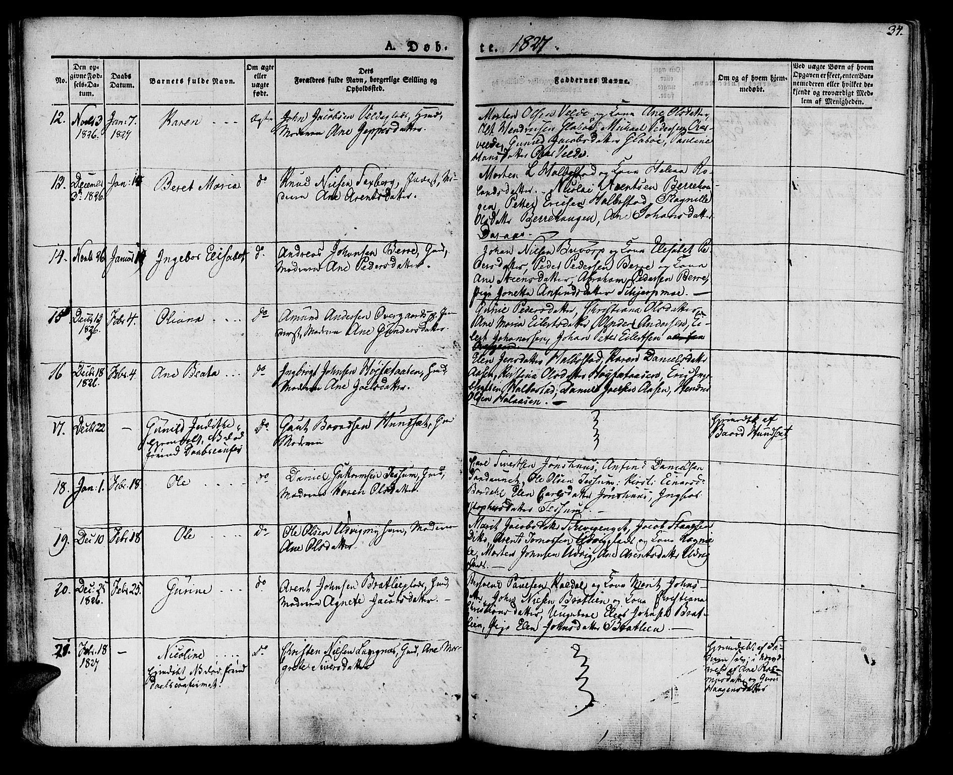 SAT, Ministerialprotokoller, klokkerbøker og fødselsregistre - Nord-Trøndelag, 741/L0390: Ministerialbok nr. 741A04, 1822-1836, s. 34