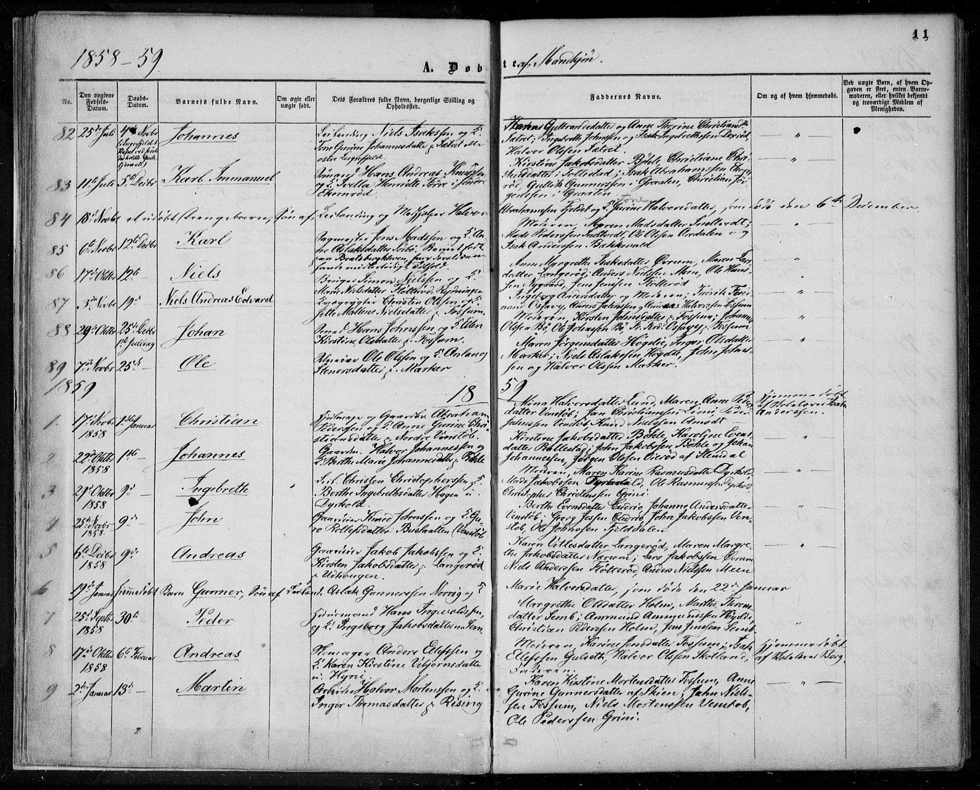 SAKO, Gjerpen kirkebøker, F/Fa/L0008a: Ministerialbok nr. 8A, 1857-1871, s. 11