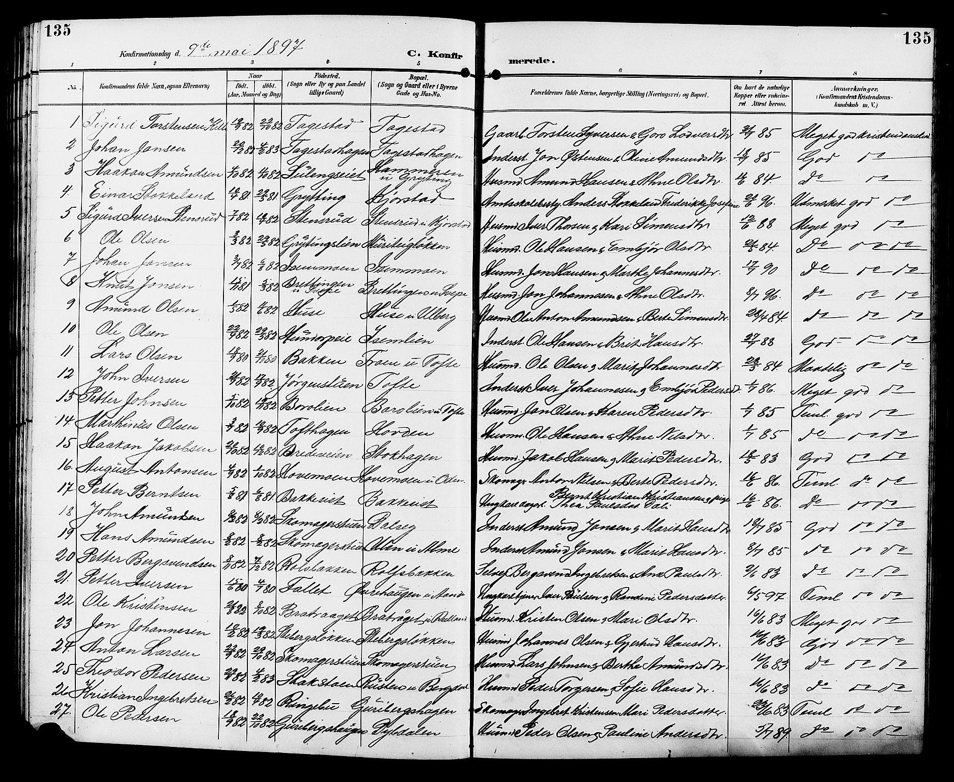 SAH, Sør-Fron prestekontor, H/Ha/Hab/L0004: Klokkerbok nr. 4, 1896-1911, s. 135
