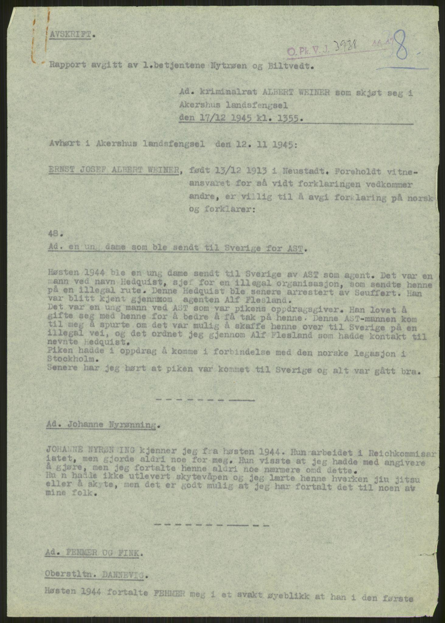 RA, Landssvikarkivet, Oslo politikammer, D/Dg/L0267: Henlagt hnr. 3658, 1945-1946, s. 71