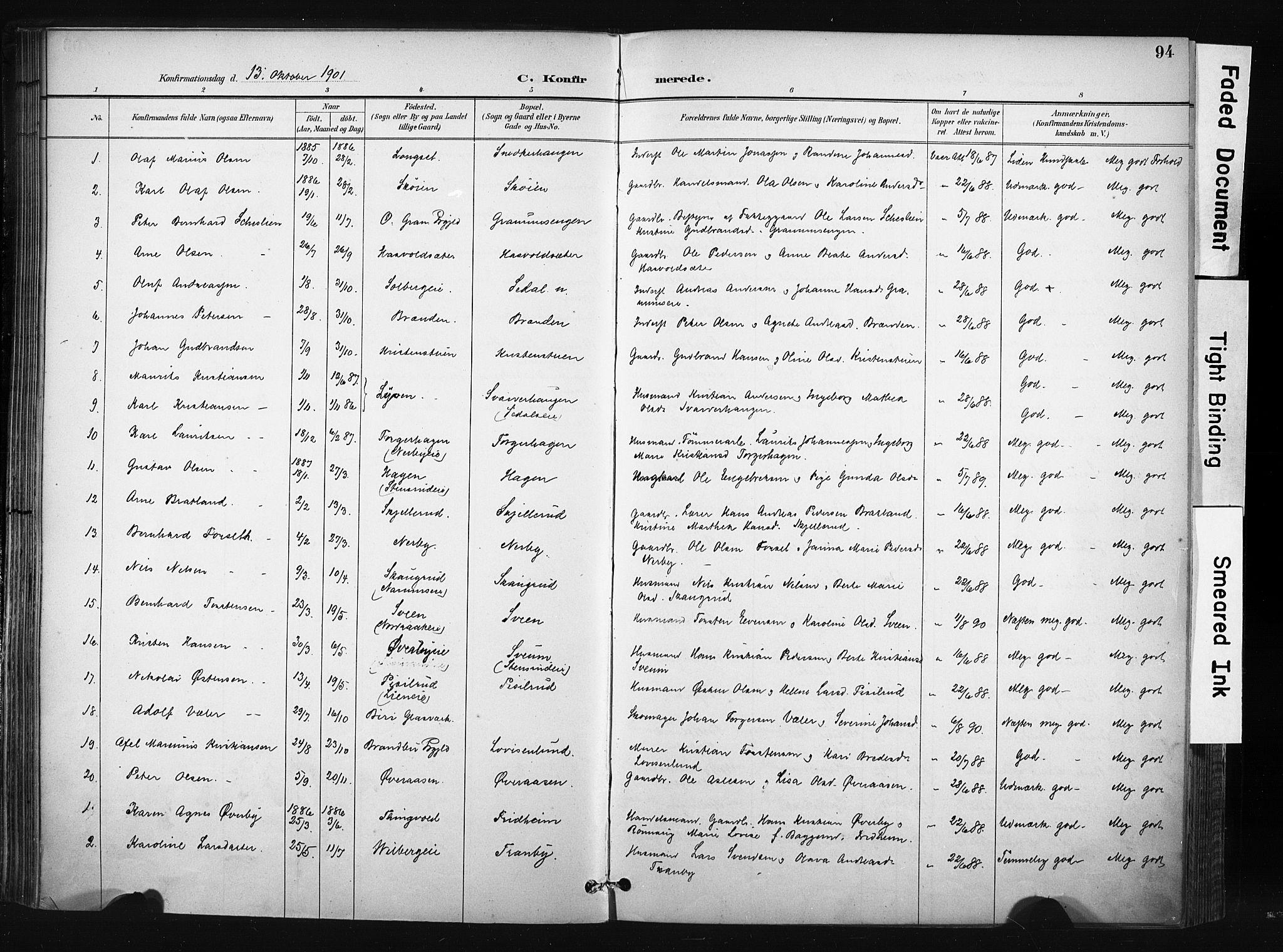 SAH, Søndre Land prestekontor, K/L0004: Ministerialbok nr. 4, 1895-1904, s. 94