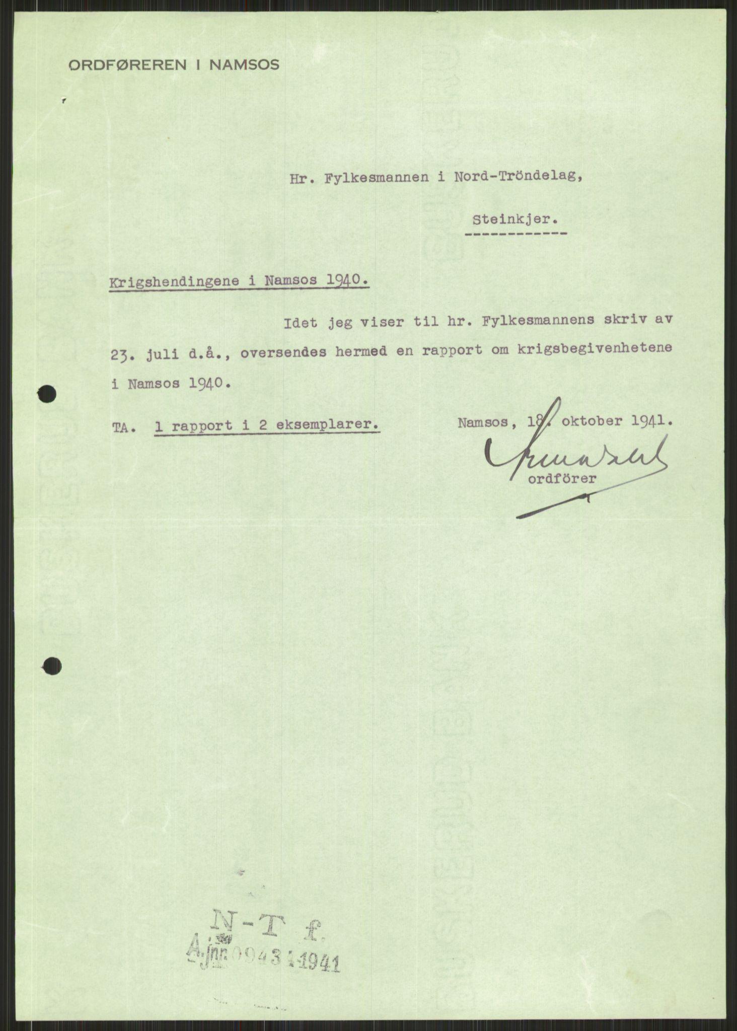 RA, Forsvaret, Forsvarets krigshistoriske avdeling, Y/Ya/L0016: II-C-11-31 - Fylkesmenn.  Rapporter om krigsbegivenhetene 1940., 1940, s. 515