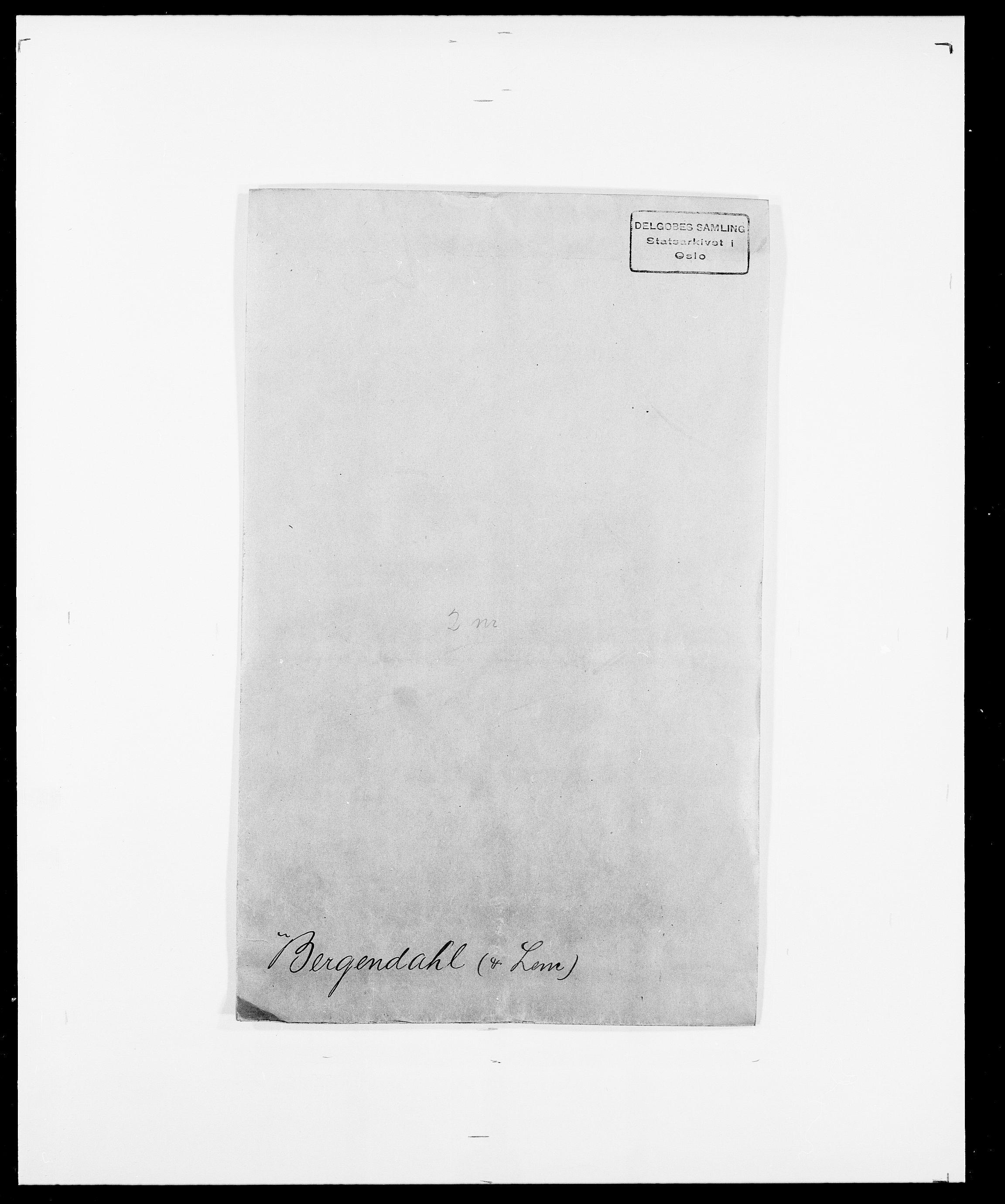 SAO, Delgobe, Charles Antoine - samling, D/Da/L0004: Bergendahl - Blære, s. 1
