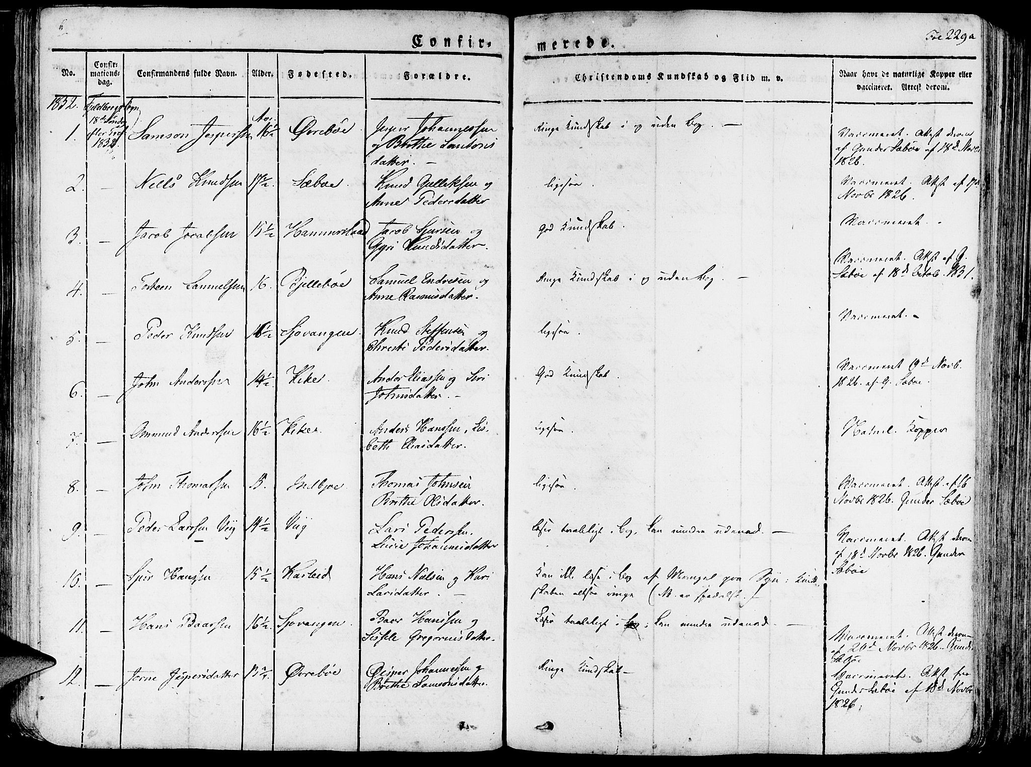 SAB, Fjelberg Sokneprestembete, H/Haa: Ministerialbok nr. A 5, 1822-1834, s. 229