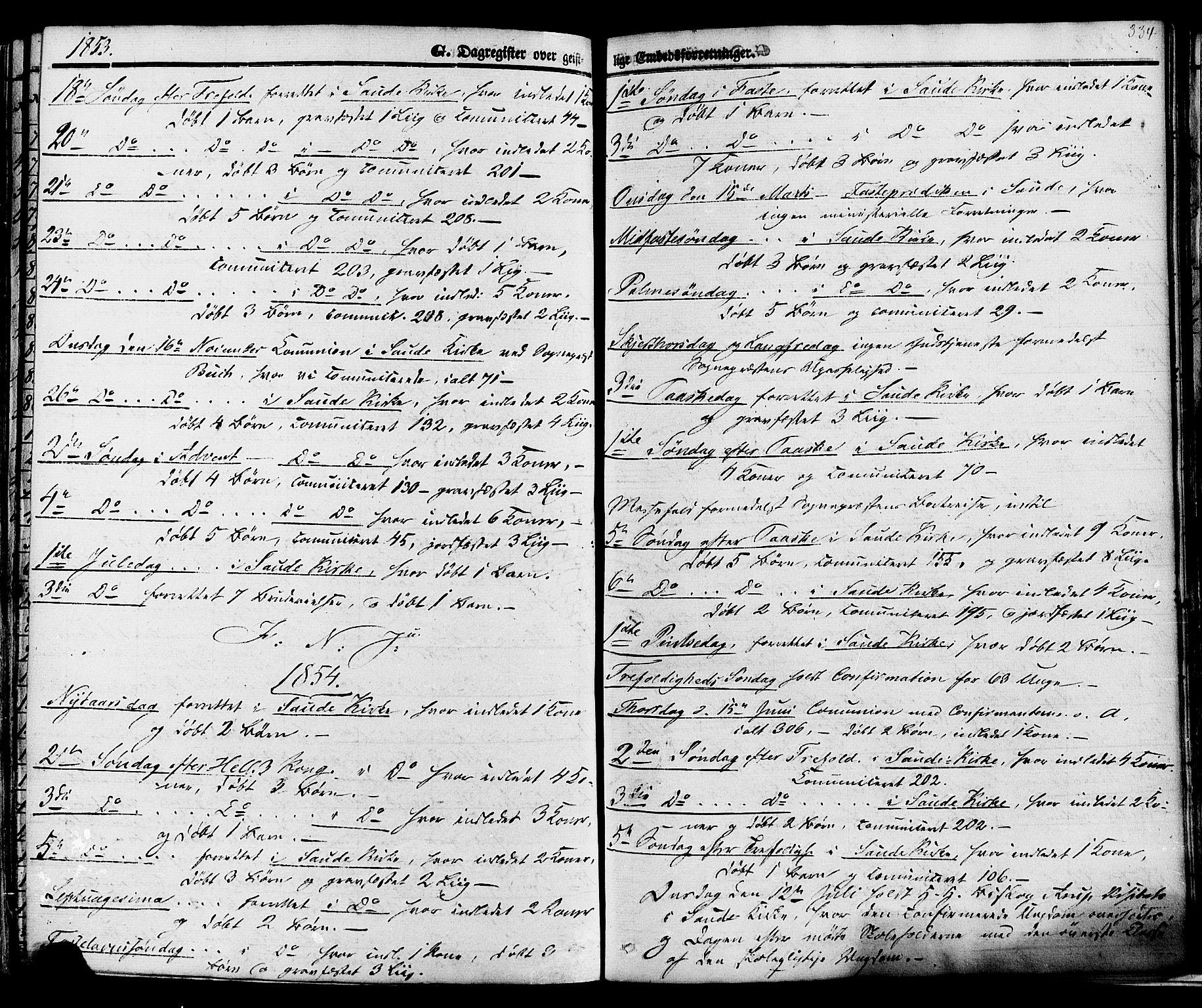 SAKO, Sauherad kirkebøker, F/Fa/L0007: Ministerialbok nr. I 7, 1851-1873, s. 334