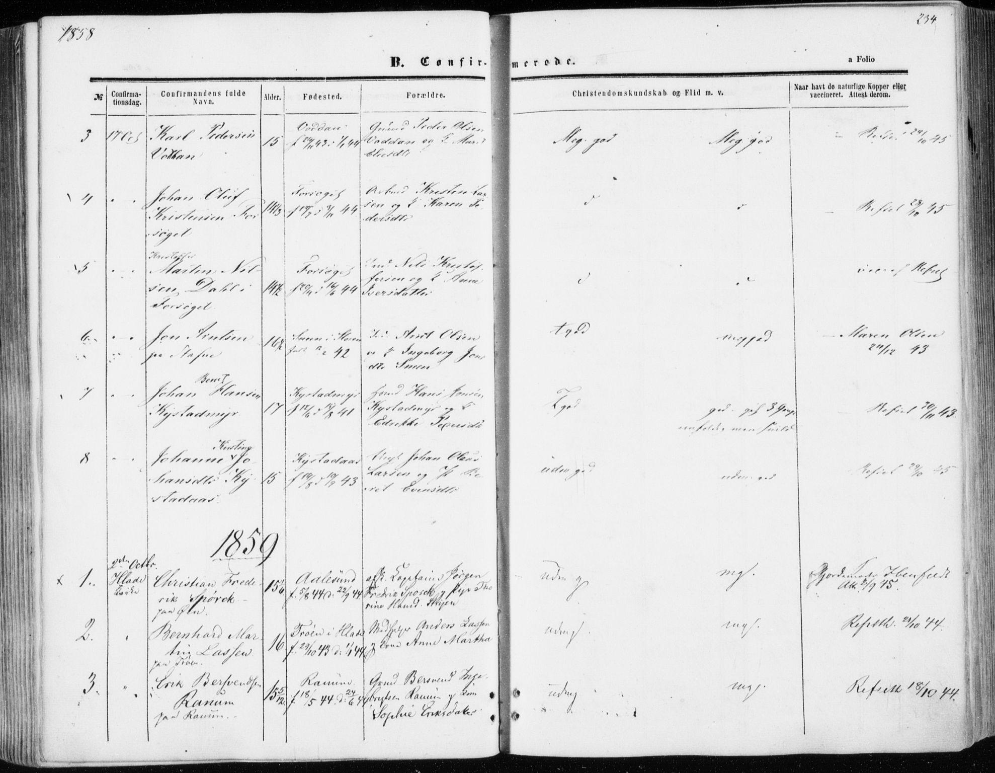 SAT, Ministerialprotokoller, klokkerbøker og fødselsregistre - Sør-Trøndelag, 606/L0292: Ministerialbok nr. 606A07, 1856-1865, s. 234