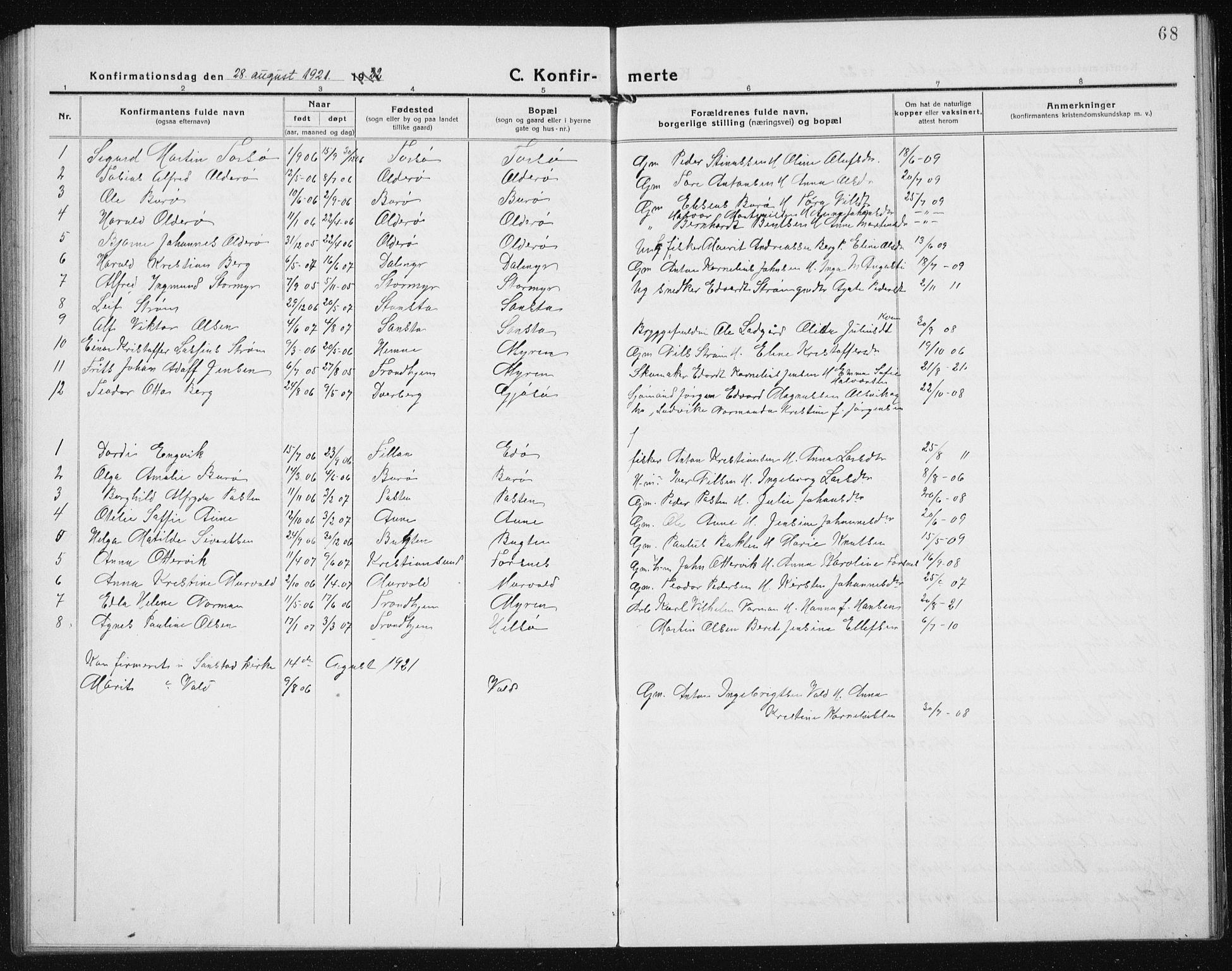 SAT, Ministerialprotokoller, klokkerbøker og fødselsregistre - Sør-Trøndelag, 635/L0554: Klokkerbok nr. 635C02, 1919-1942, s. 68