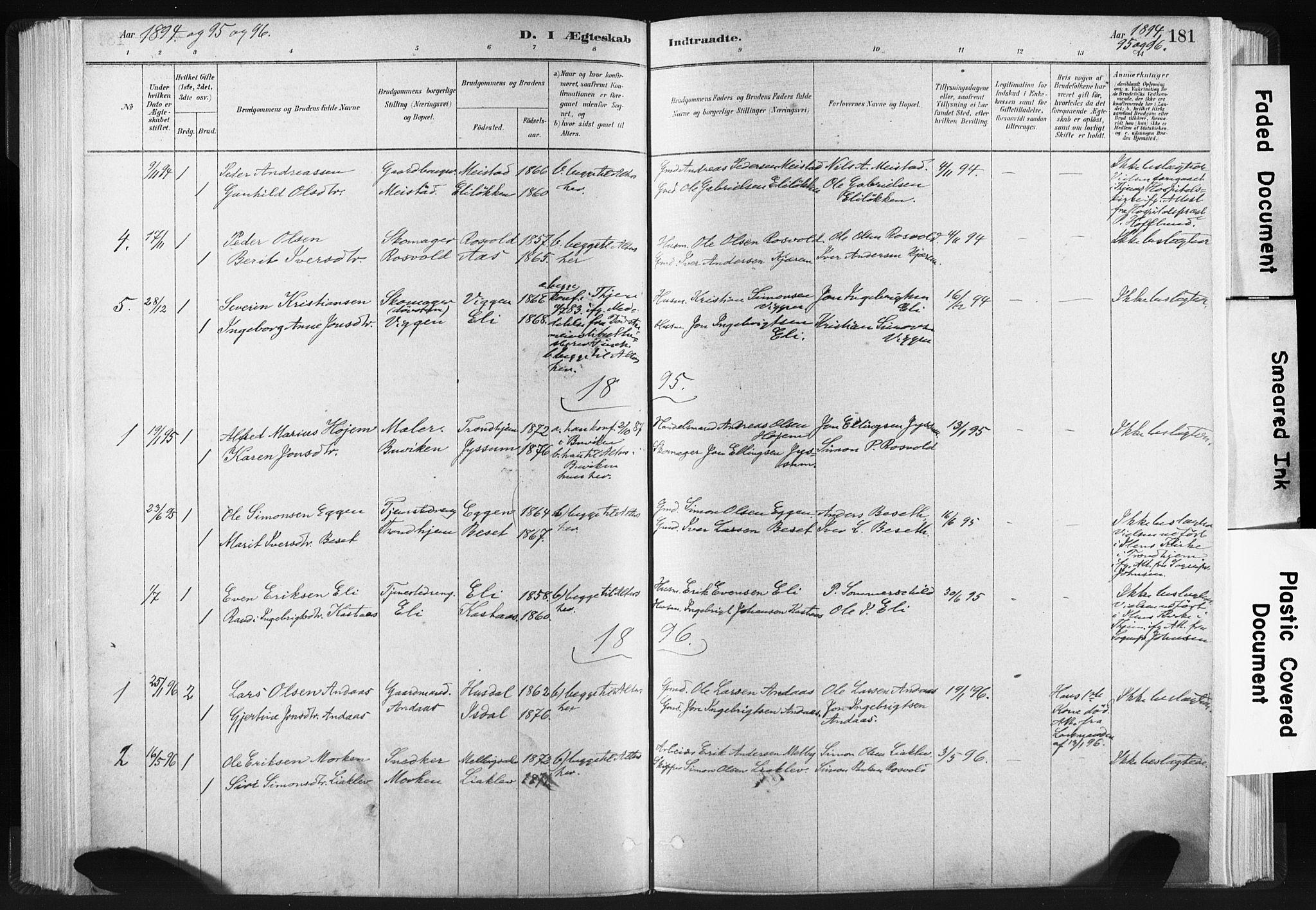 SAT, Ministerialprotokoller, klokkerbøker og fødselsregistre - Sør-Trøndelag, 665/L0773: Ministerialbok nr. 665A08, 1879-1905, s. 181