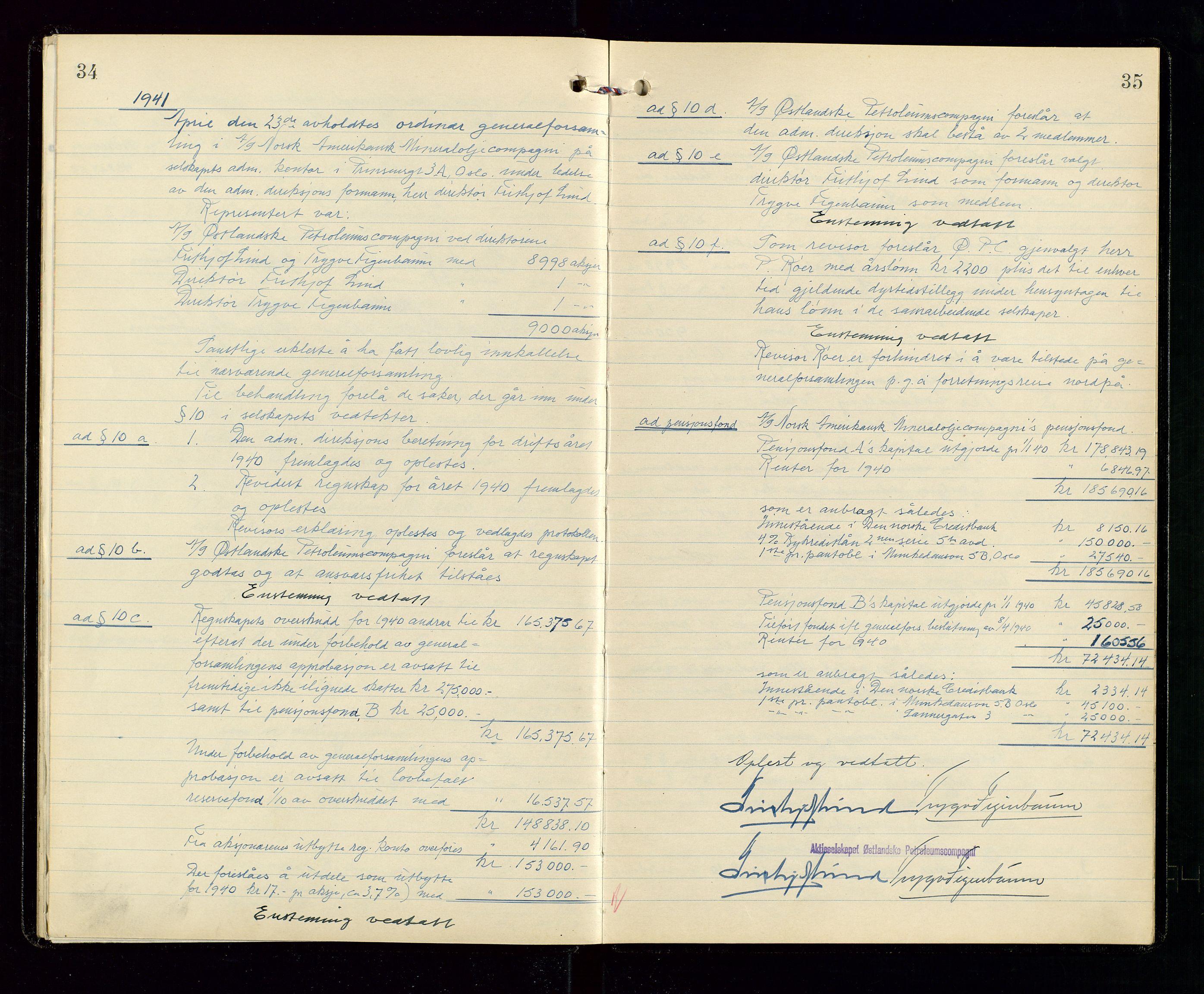 SAST, Pa 1536 - Esso Norge as, Vallø Oljeraffineri og lager, A/Aa/L0001: Generalforsamlinger og bilag til generalforsamlinger, 1934-1950, s. 34-35