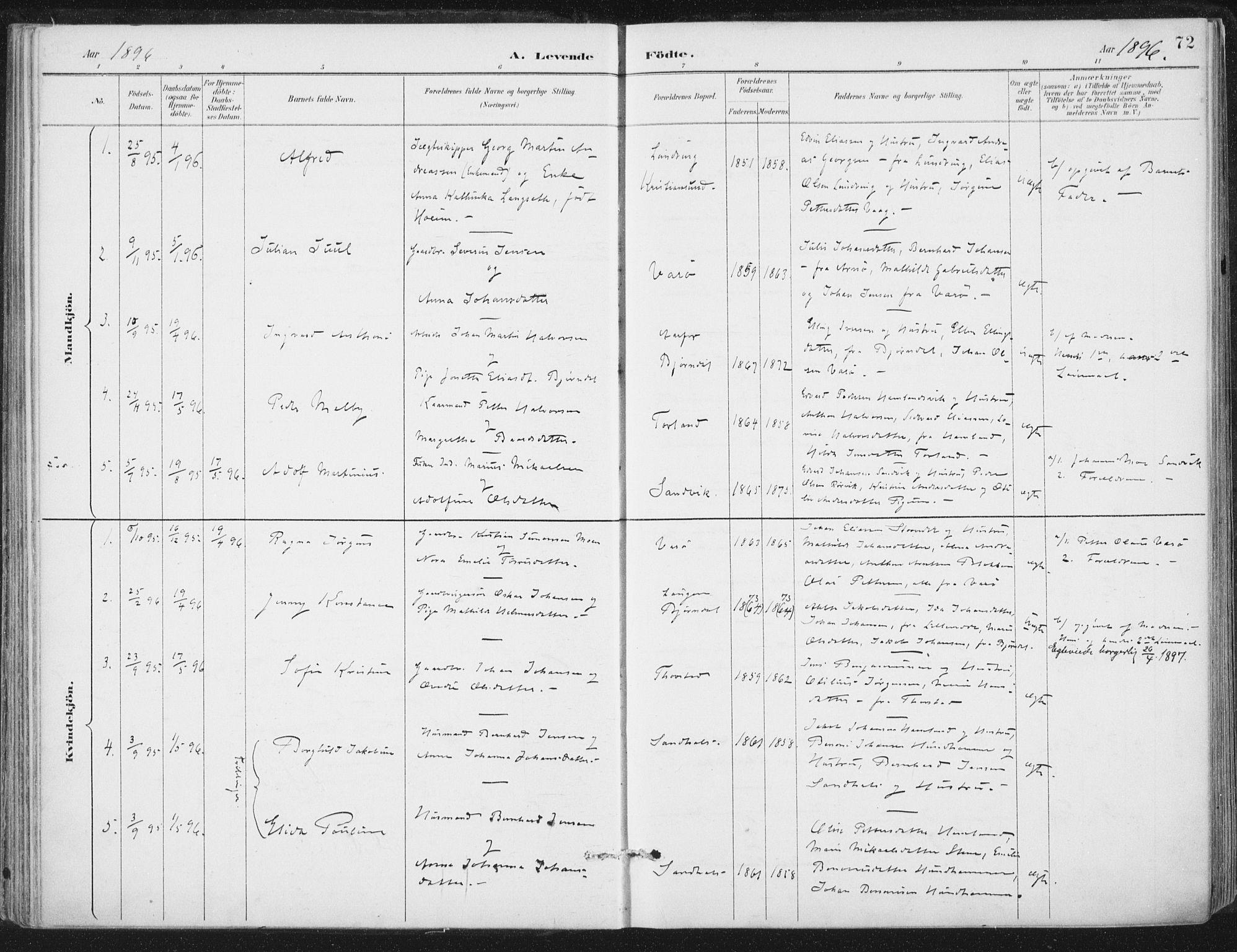 SAT, Ministerialprotokoller, klokkerbøker og fødselsregistre - Nord-Trøndelag, 784/L0673: Ministerialbok nr. 784A08, 1888-1899, s. 72