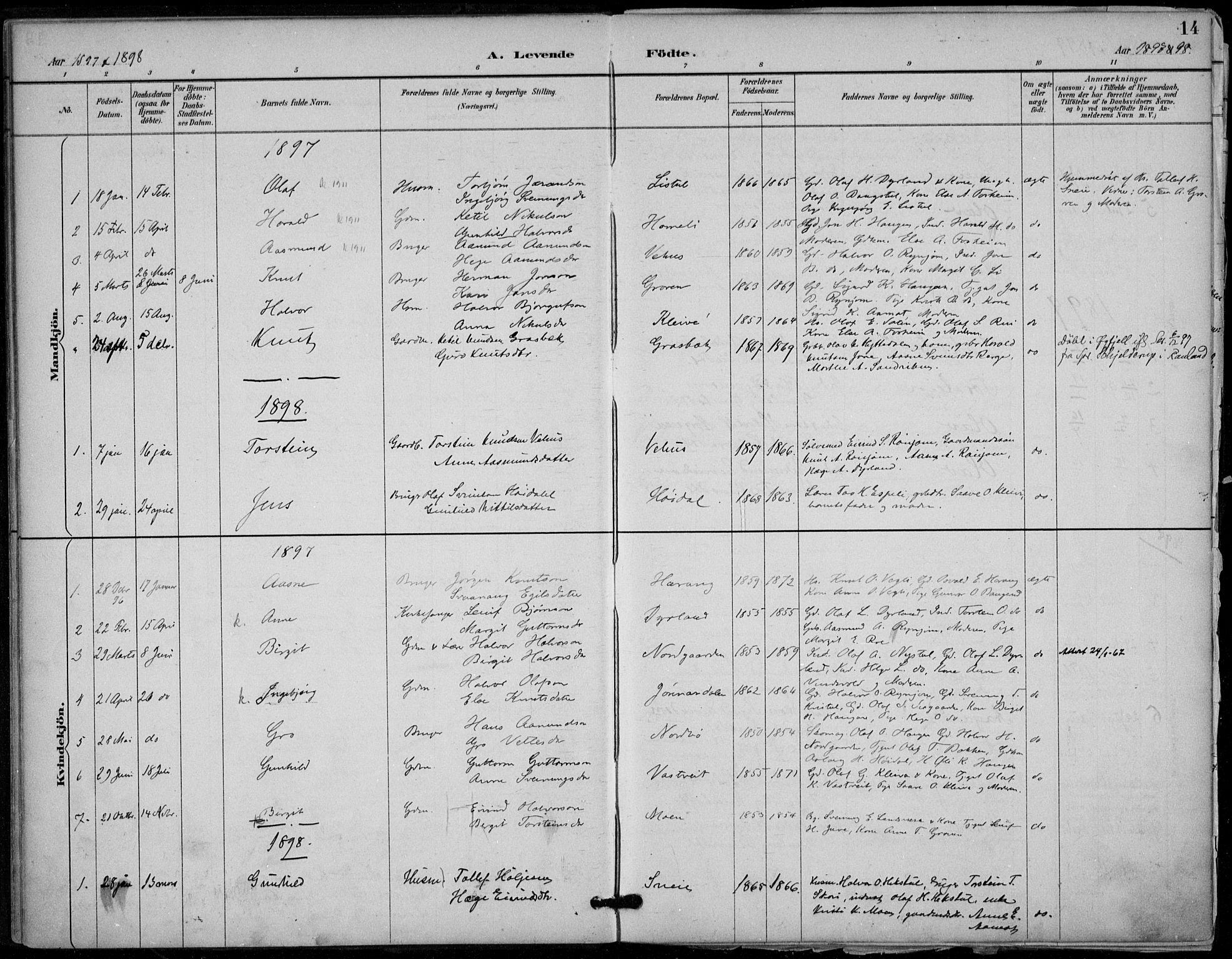 SAKO, Seljord kirkebøker, F/Fc/L0002: Ministerialbok nr. III 2, 1887-1920, s. 14