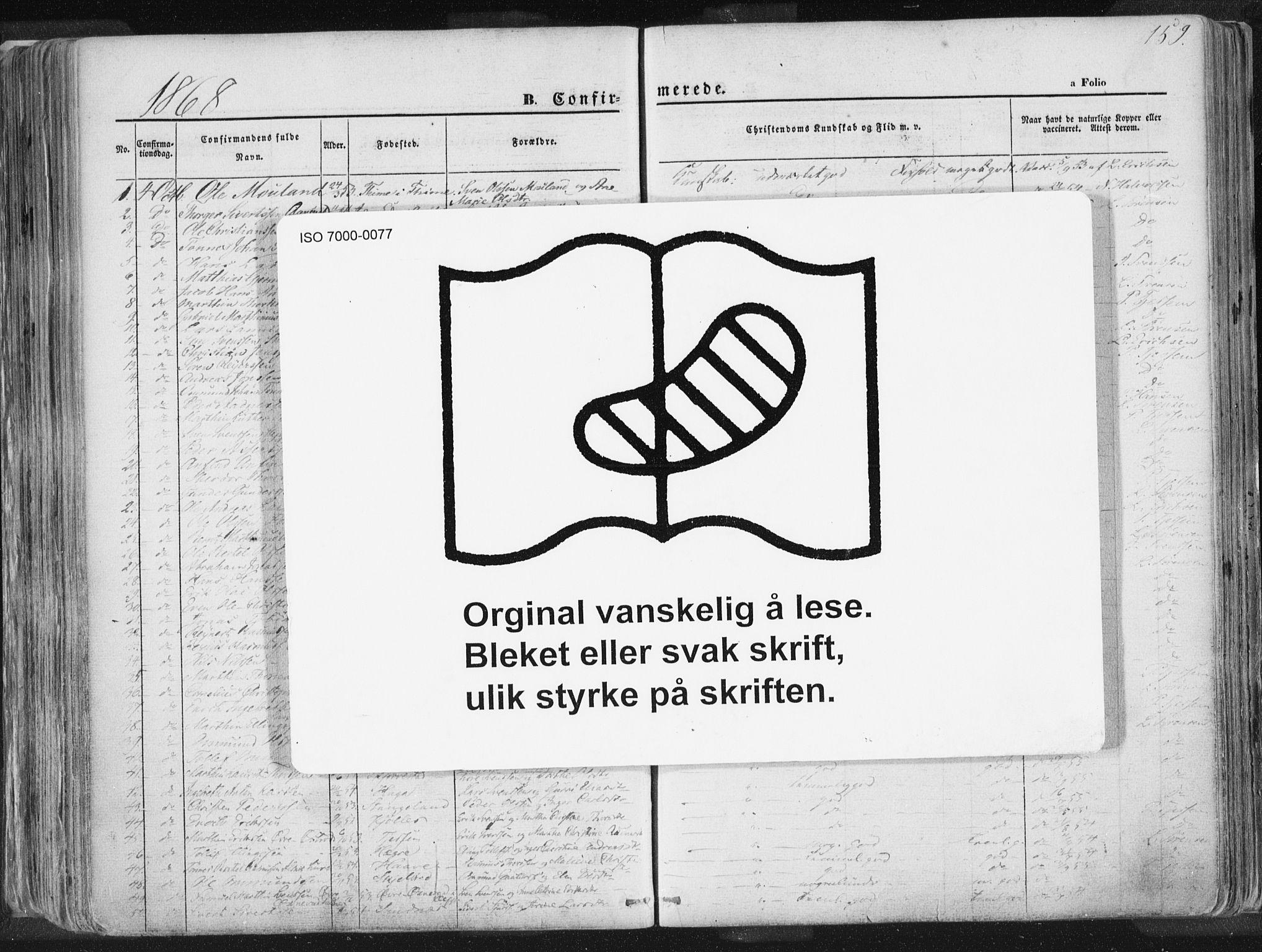 SAST, Høyland sokneprestkontor, 30BA/L0010: Ministerialbok nr. A 9.1, 1857-1877, s. 159