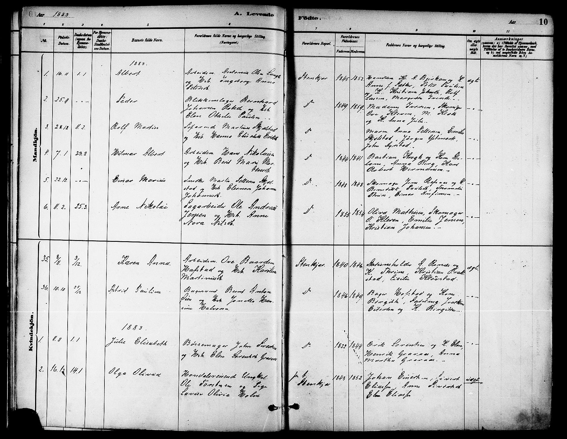 SAT, Ministerialprotokoller, klokkerbøker og fødselsregistre - Nord-Trøndelag, 739/L0371: Ministerialbok nr. 739A03, 1881-1895, s. 10