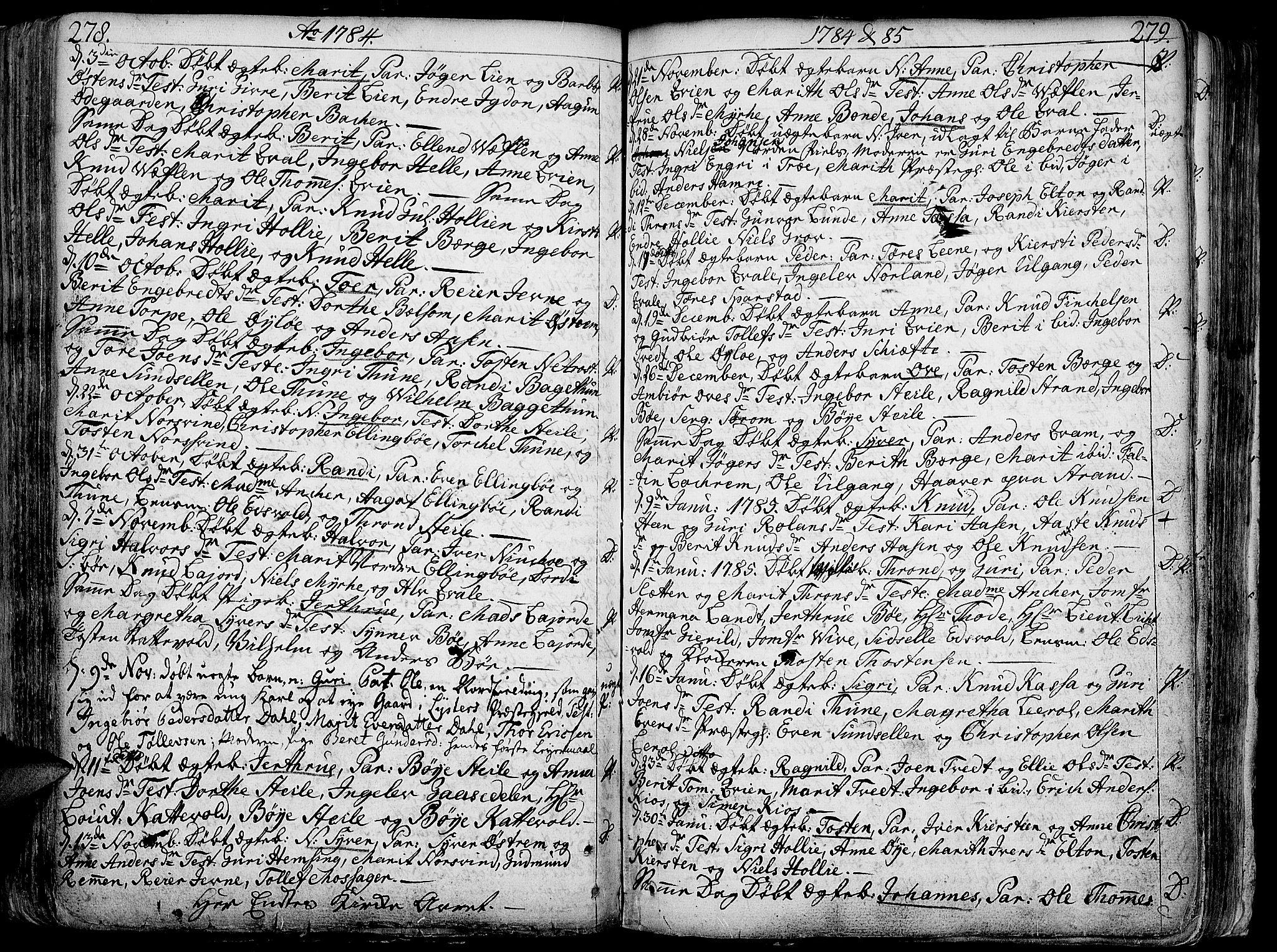 SAH, Vang prestekontor, Valdres, Ministerialbok nr. 1, 1730-1796, s. 278-279