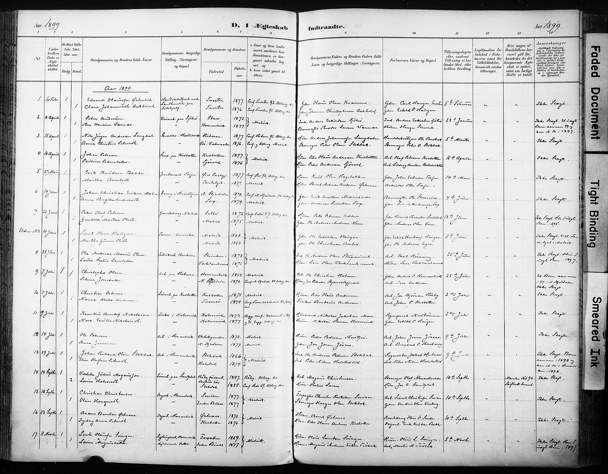 SAT, Ministerialprotokoller, klokkerbøker og fødselsregistre - Sør-Trøndelag, 616/L0411: Ministerialbok nr. 616A08, 1894-1906