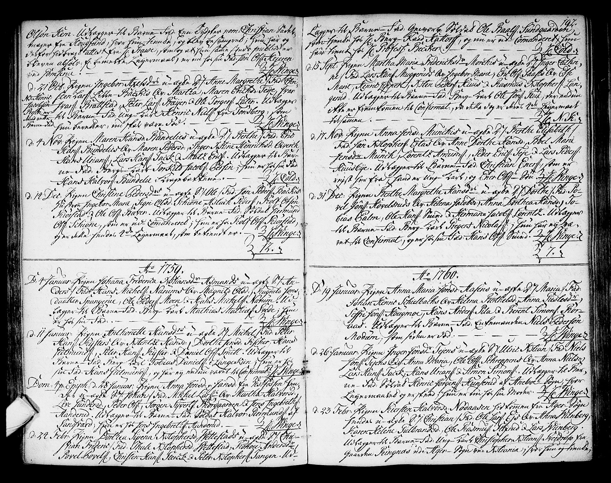 SAKO, Kongsberg kirkebøker, F/Fa/L0004: Ministerialbok nr. I 4, 1756-1768, s. 192