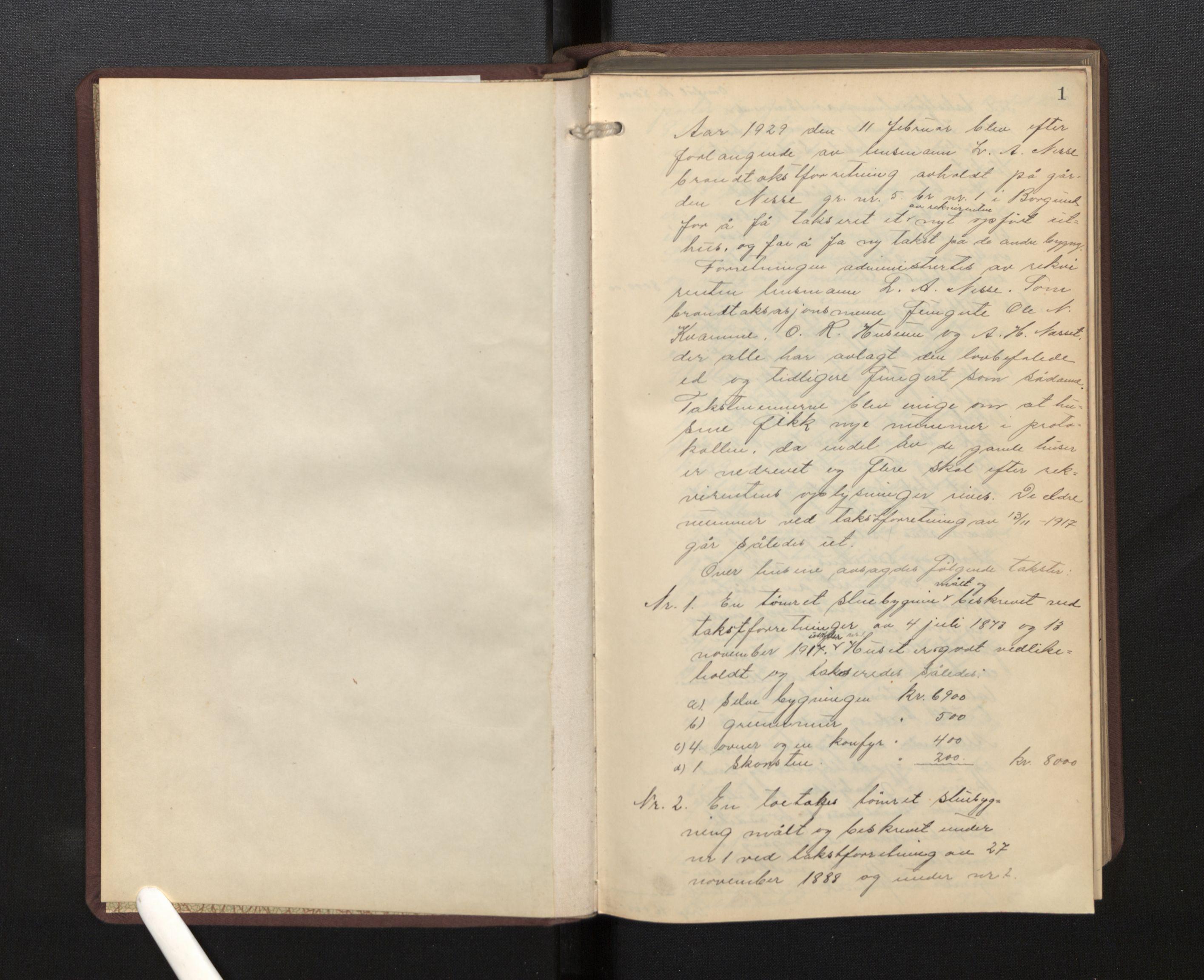 SAB, Lensmannen i Borgund, 0012/L0002: Branntakstprotokoll, 1929-1933, s. 1