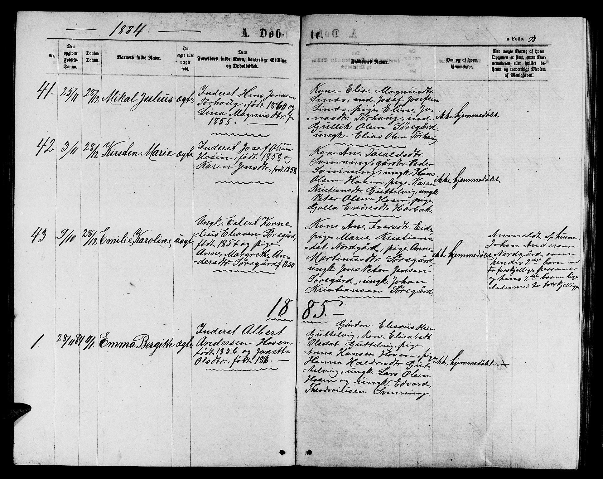 SAT, Ministerialprotokoller, klokkerbøker og fødselsregistre - Sør-Trøndelag, 656/L0695: Klokkerbok nr. 656C01, 1867-1889, s. 78