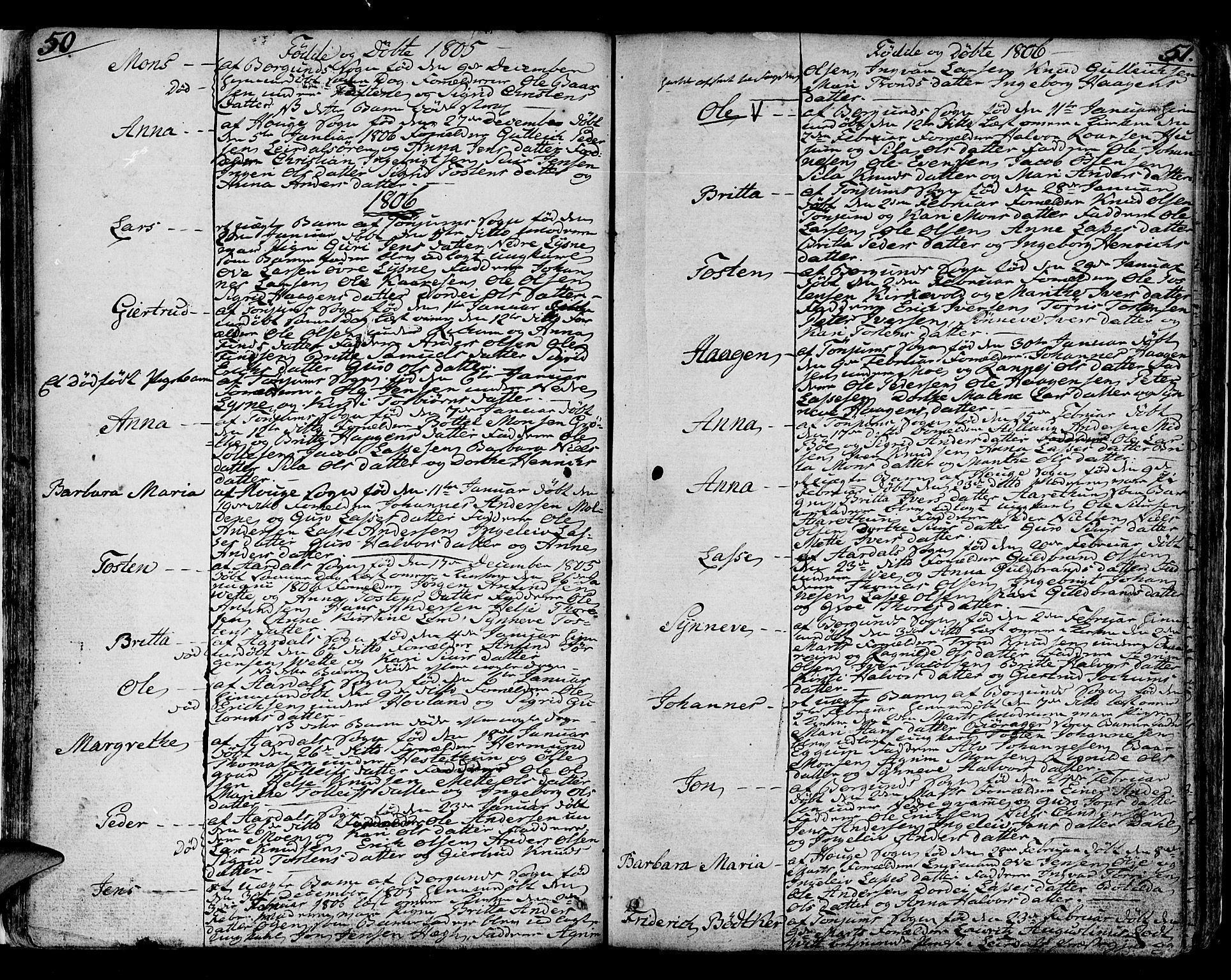 SAB, Lærdal sokneprestembete, Ministerialbok nr. A 4, 1805-1821, s. 50-51