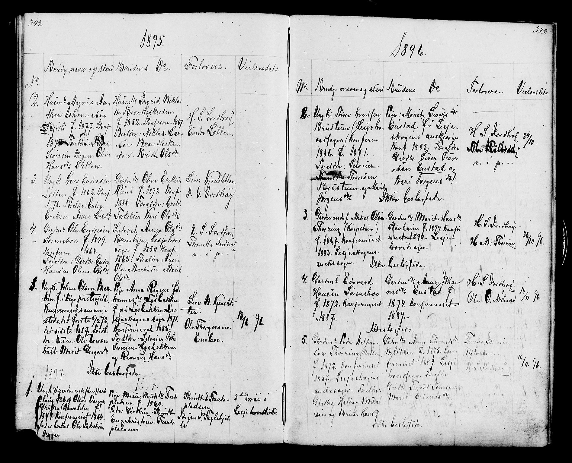 SAH, Lesja prestekontor, Klokkerbok nr. 6, 1871-1904, s. 342-343