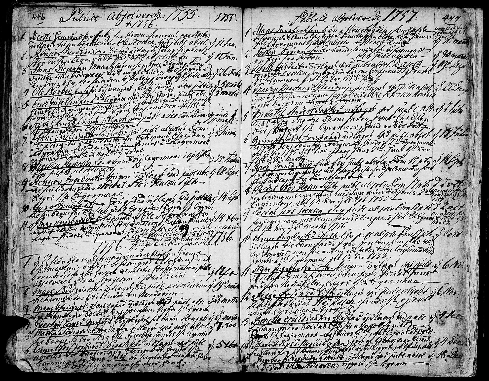 SAH, Ringebu prestekontor, Ministerialbok nr. 2, 1734-1780, s. 446-447