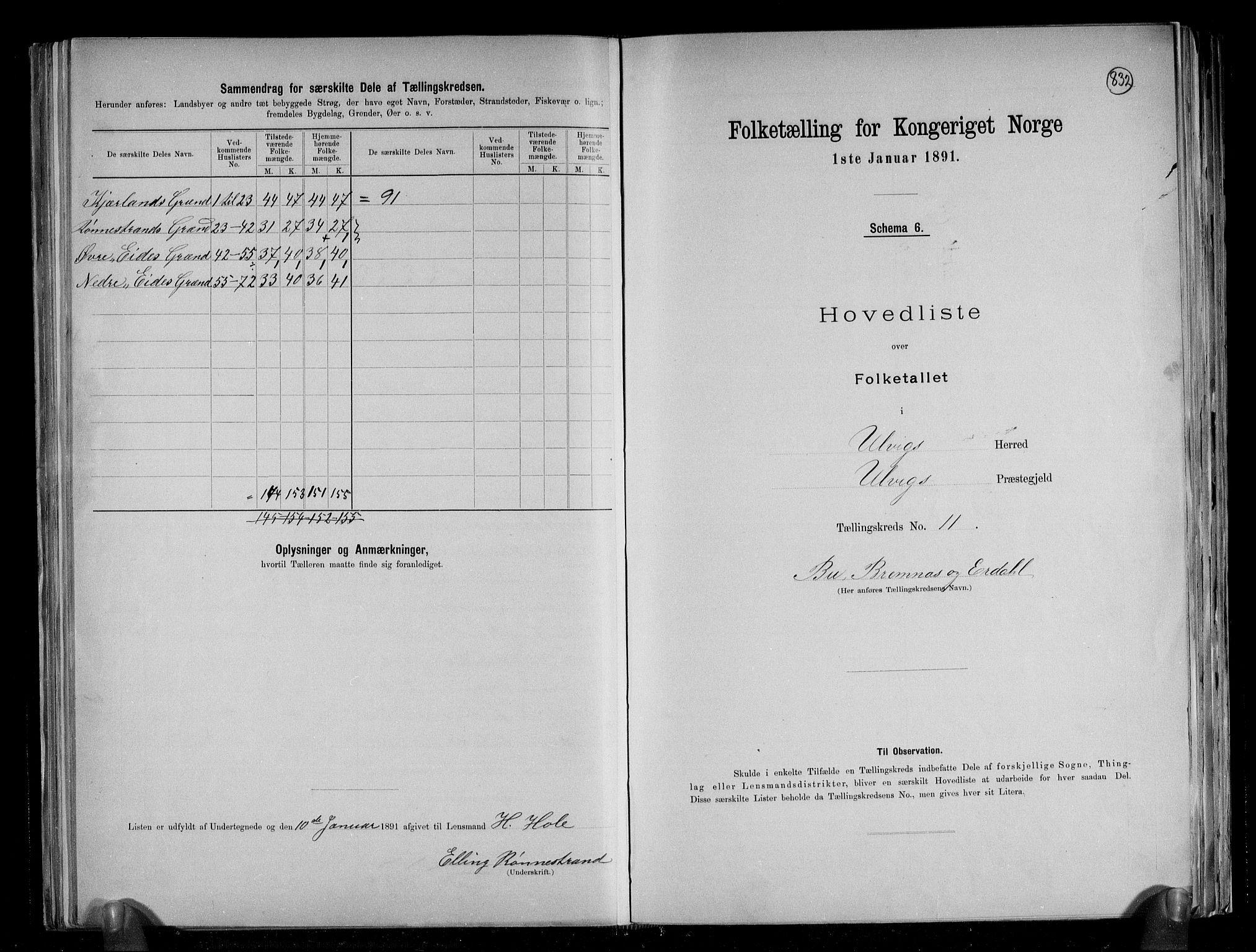 RA, Folketelling 1891 for 1233 Ulvik herred, 1891, s. 27